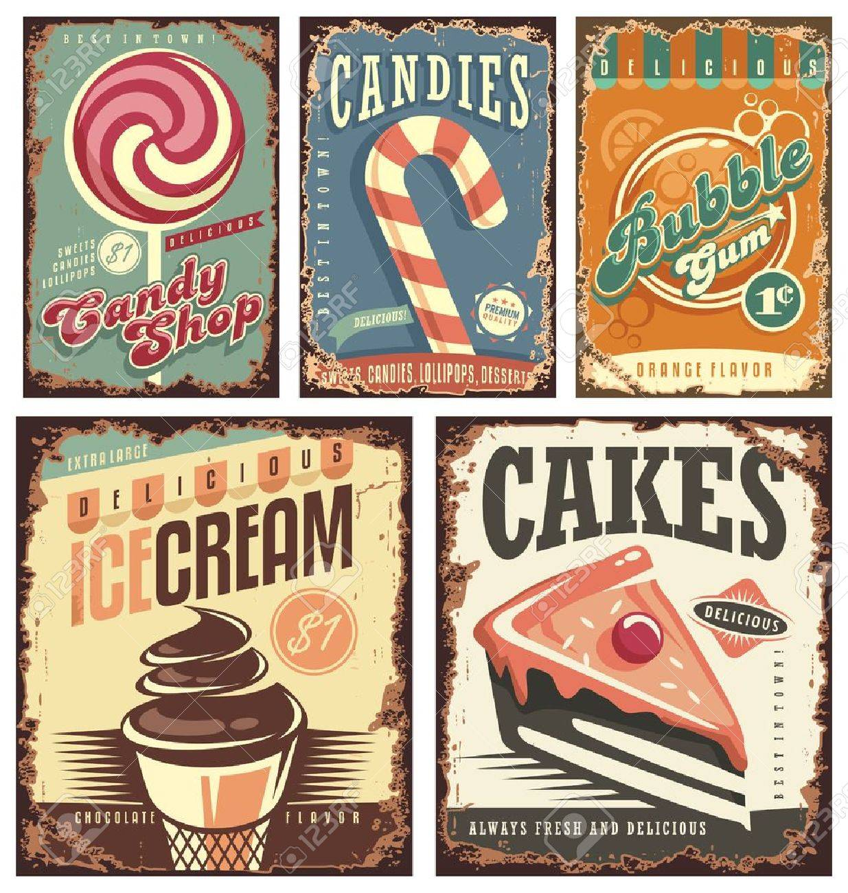 Vintage candy shop collection of tin signs - 53552533