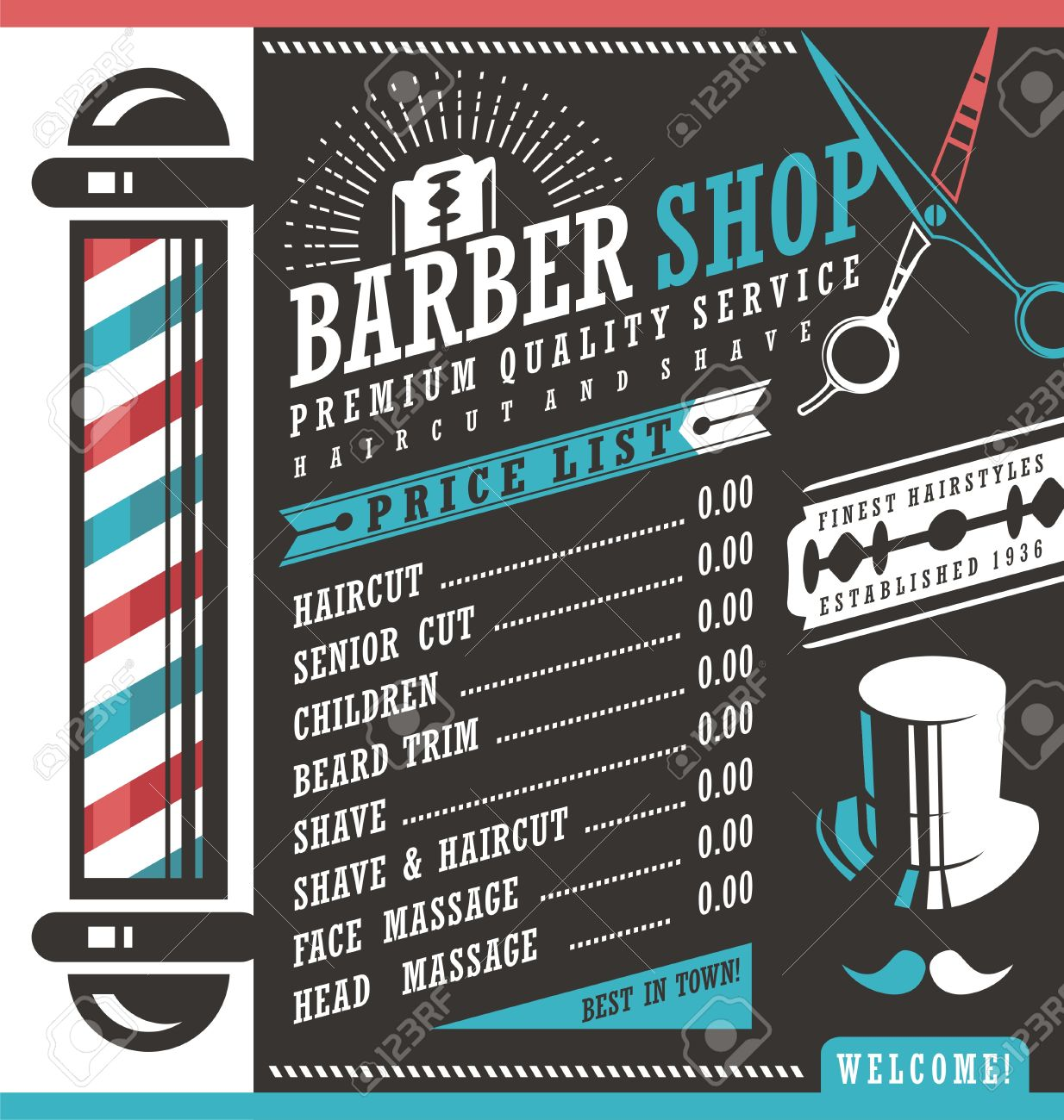 barber shop vector price list template stock vector 53827526