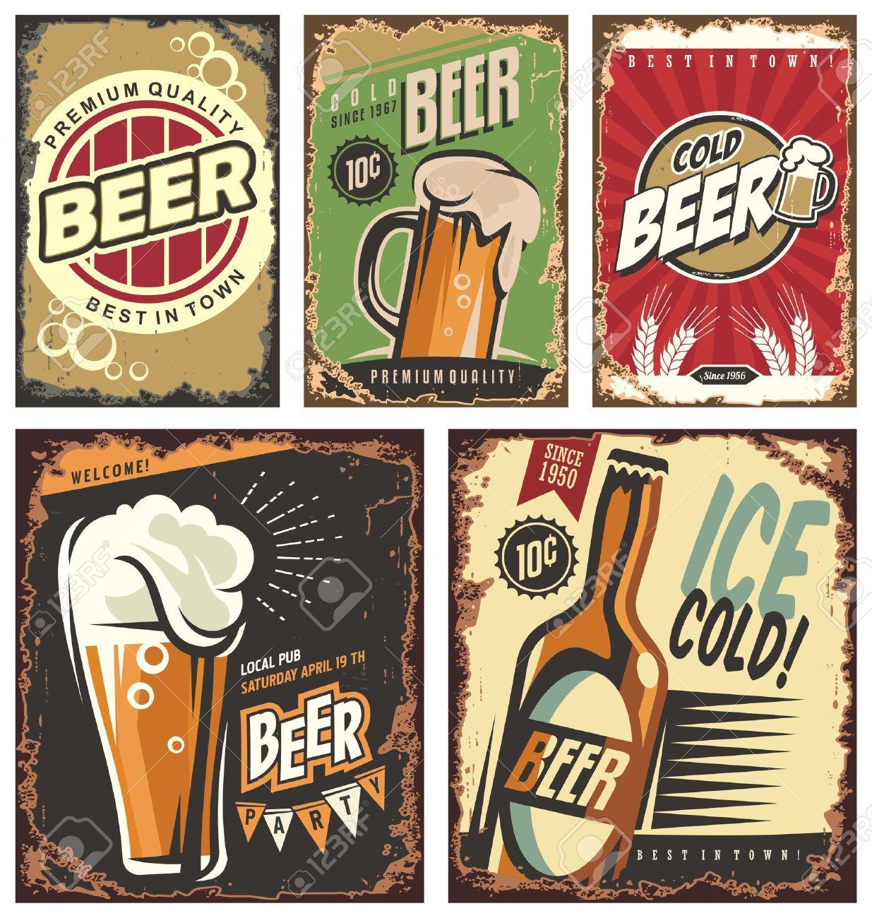 Retro beer vector signs set - 55218518