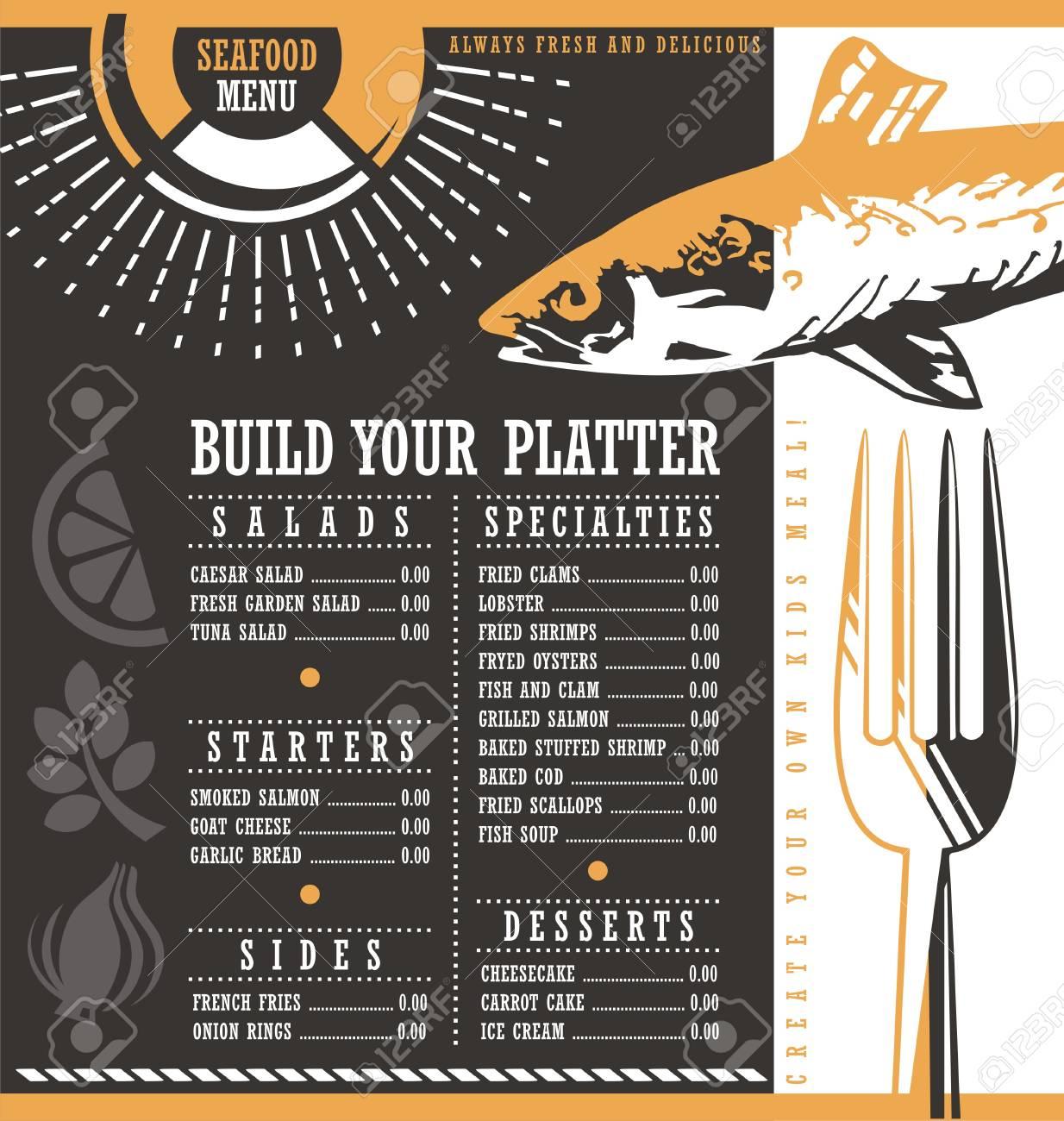 seafood restaurant menu design royalty free cliparts, vectors, and