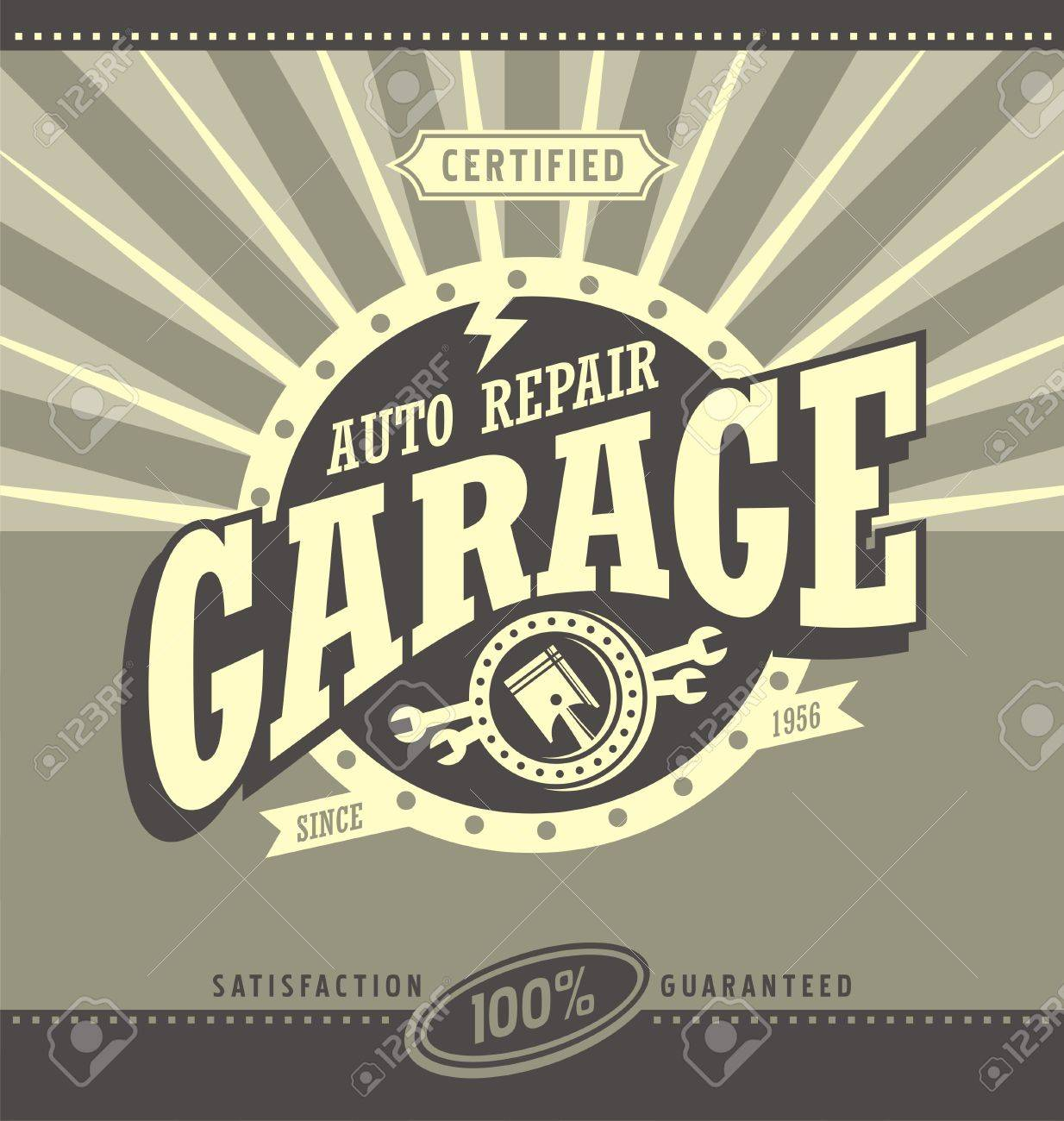 Classic garage retro banner design concept - 55846616