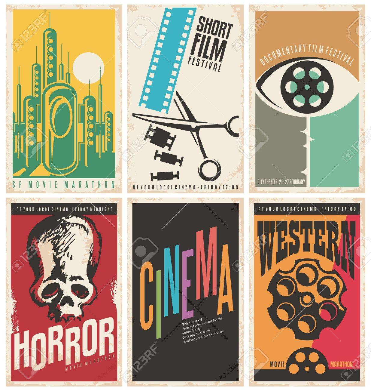 Collection Of Retro Movie Poster Design Concepts And Ideas Stock Vector