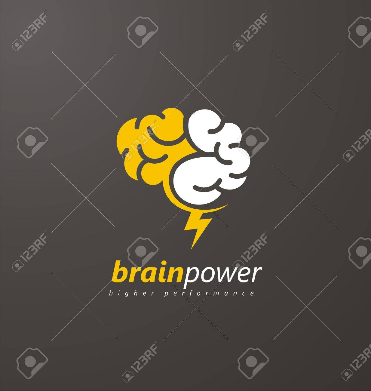 Abstract brain symbol with yellow thunderbolt on a dark background abstract brain symbol with yellow thunderbolt on a dark background stock vector 56341120 biocorpaavc Images