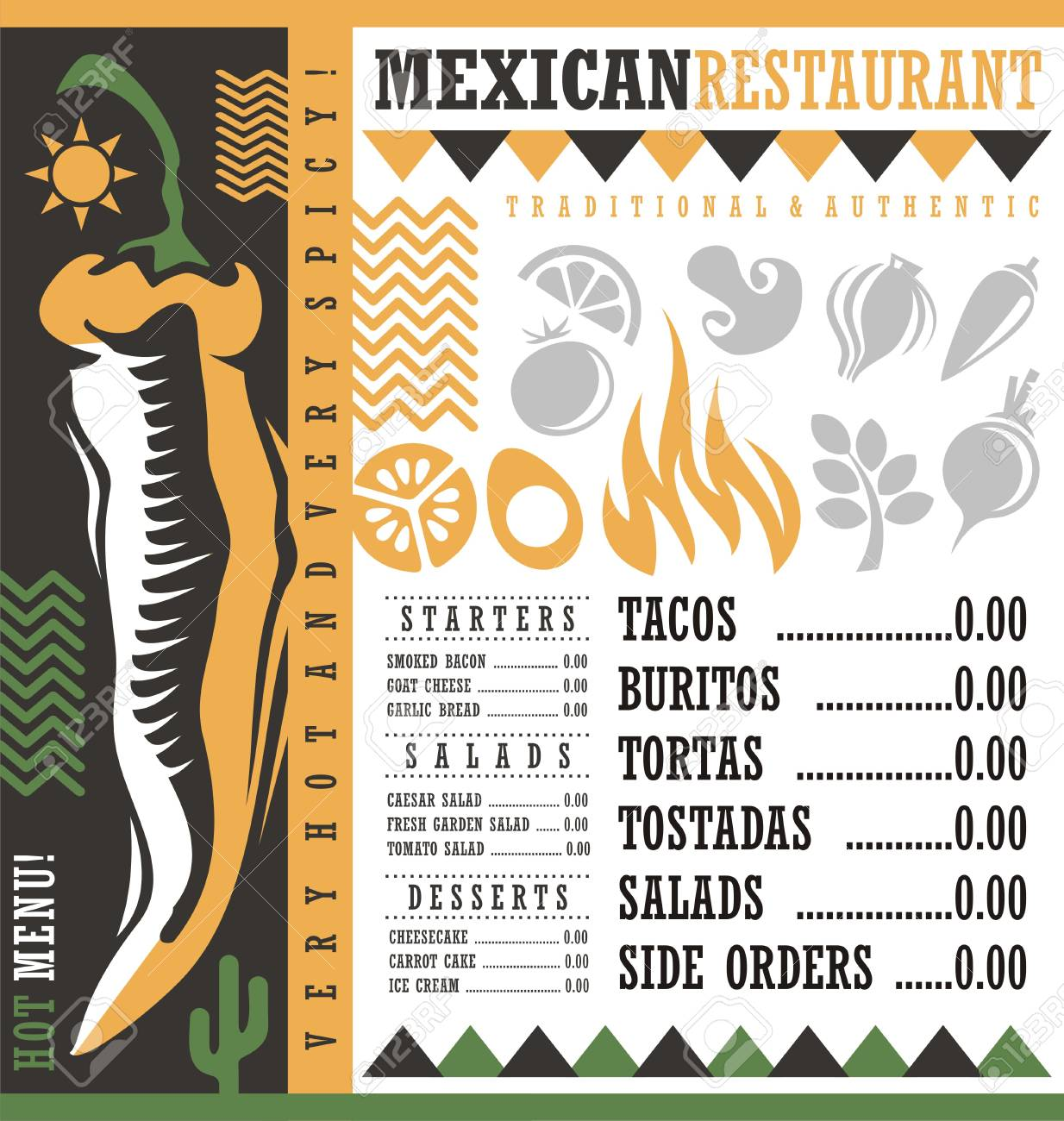mexican restaurant menu design template royalty free cliparts