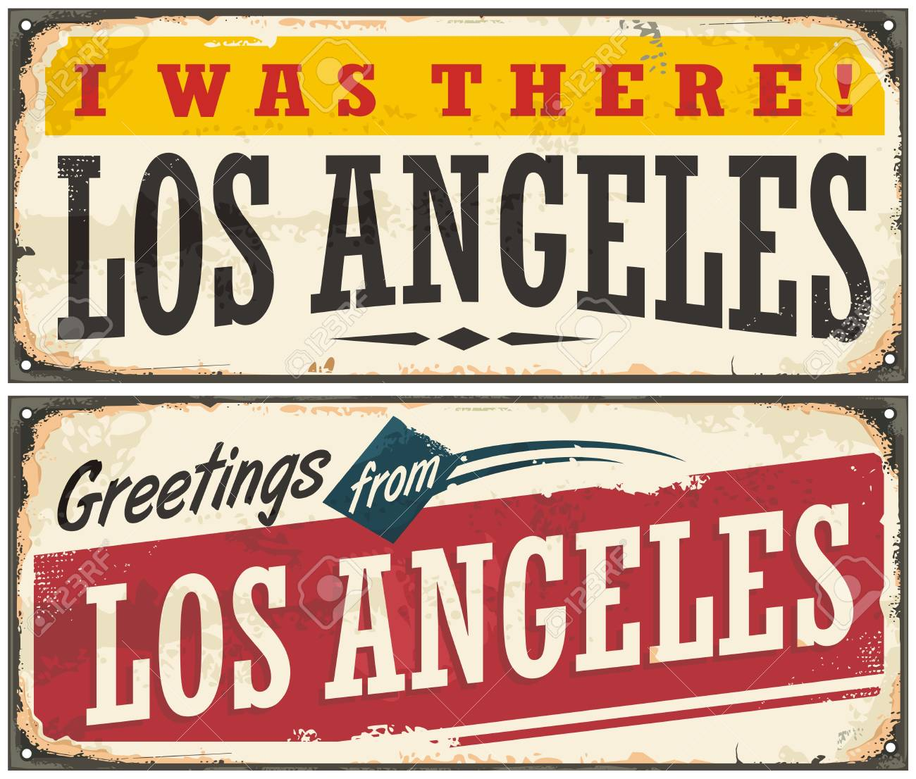 los angeles retro travel sign or postcard template royalty free
