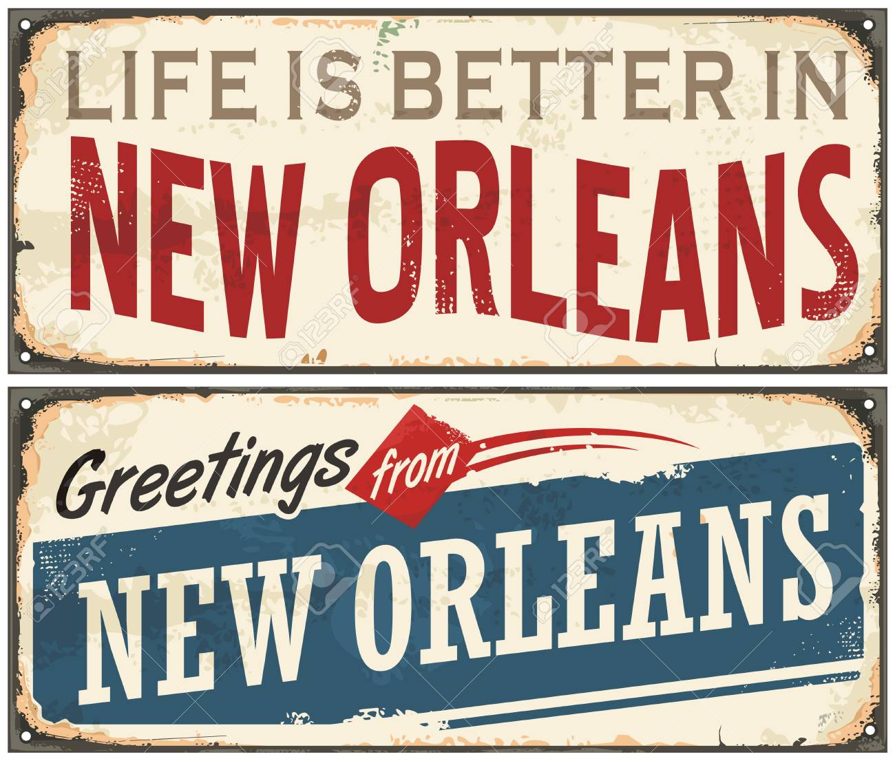 New Orleans Florida Retro Tin Sign Design On Old Rusty Background