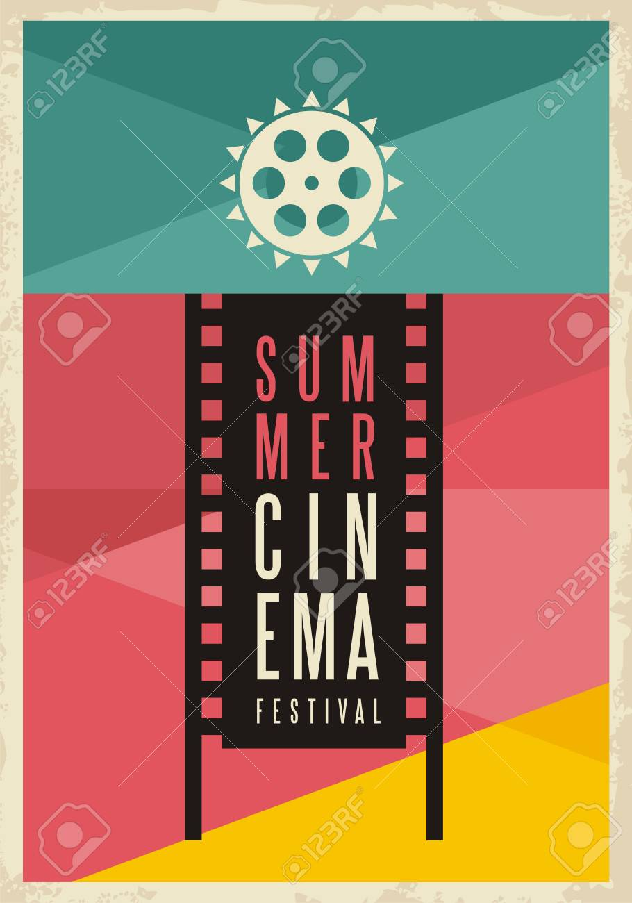 Conceptual Artistic Poster Design For Summer Cinema Movie Festival Stock Vector