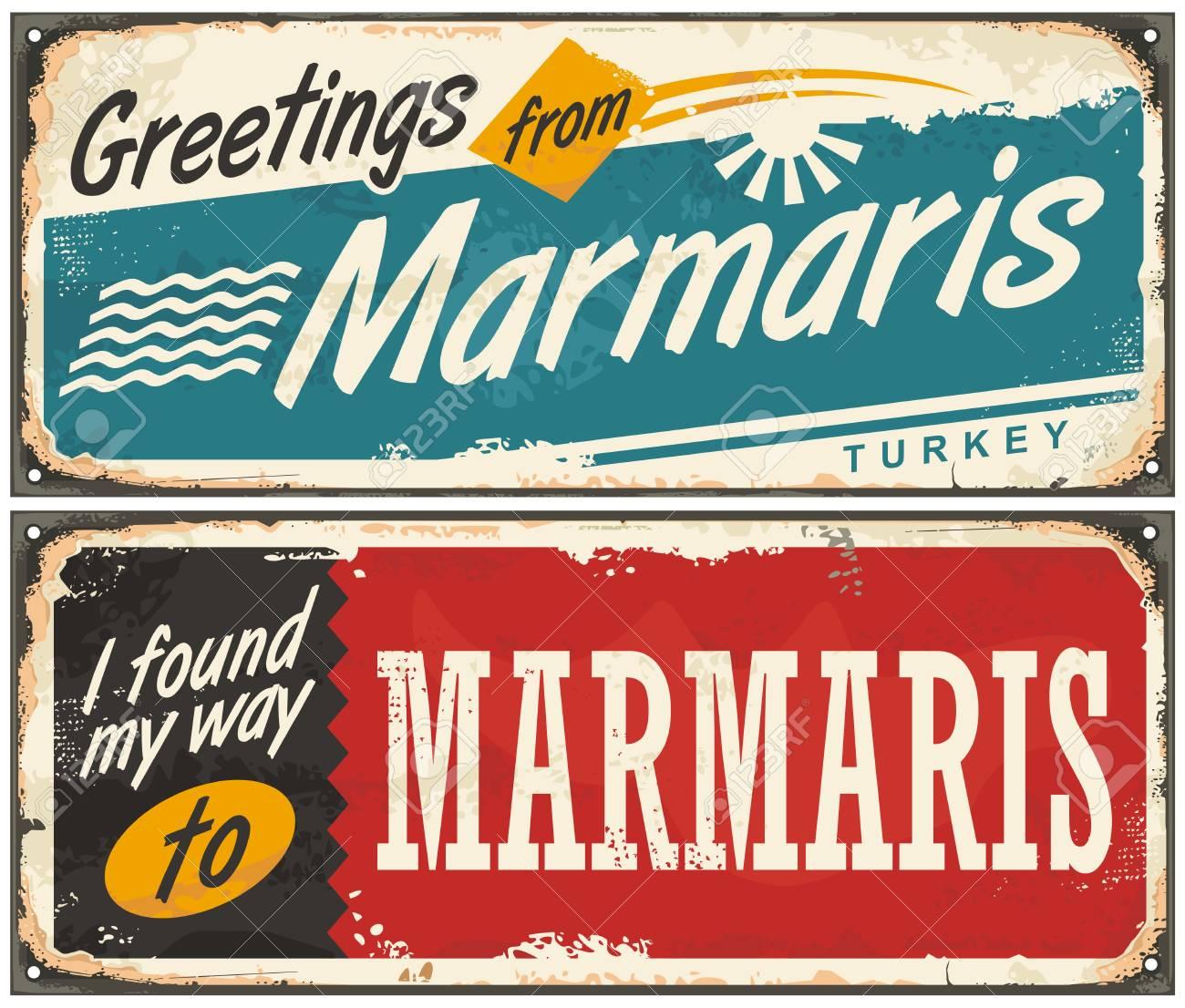 Greetings from marmaris turkey retro tin signs set royalty free greetings from marmaris turkey retro tin signs set stock vector 81514740 m4hsunfo