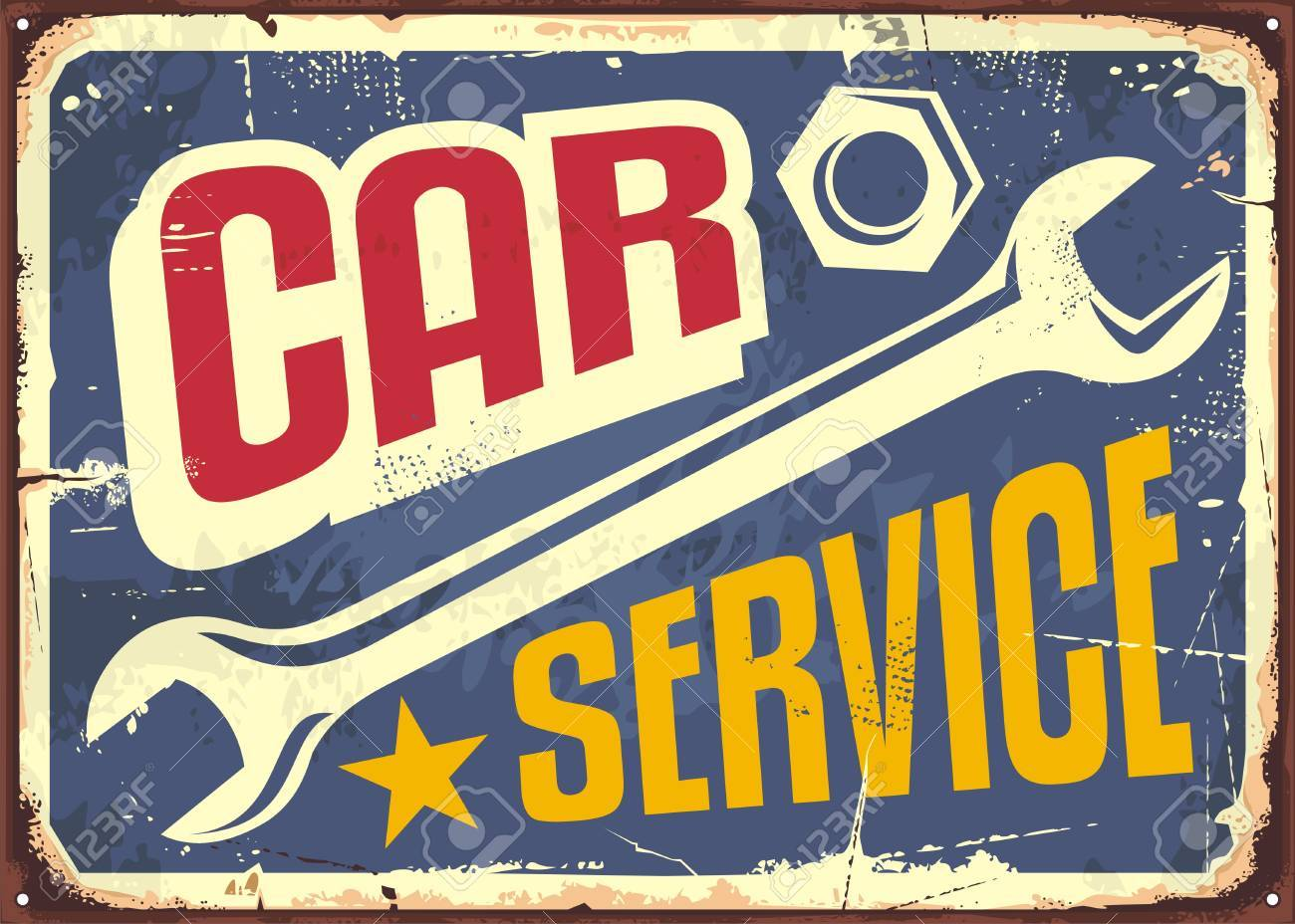 Car service vintage sign with wrench tool and creative letterhead - 81970726