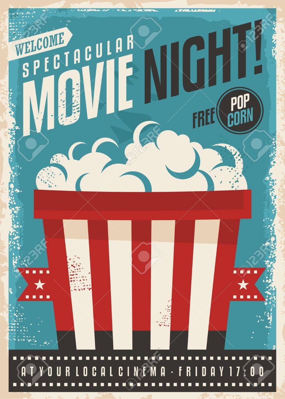 movie cinema night retro poster design popcorn graphic with film strip entertainment brochure template