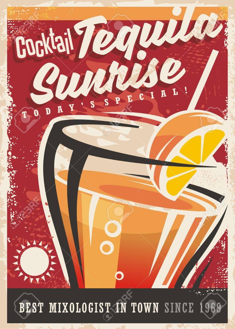 cocktail tequila sunrise retro promotional poster design vintage
