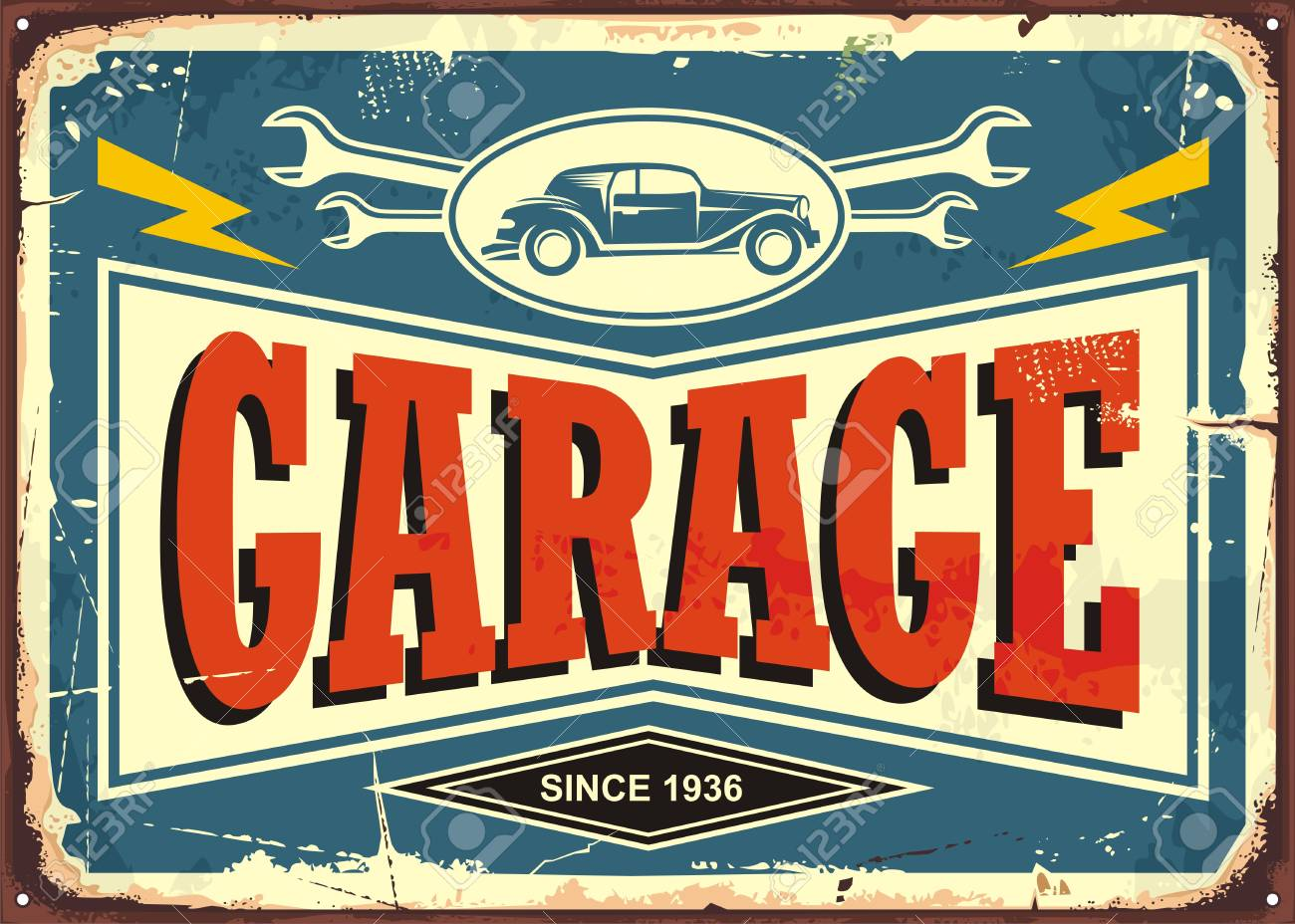 Vintage Garage Sign With Car Image And Wrench Tools Royalty Free ...