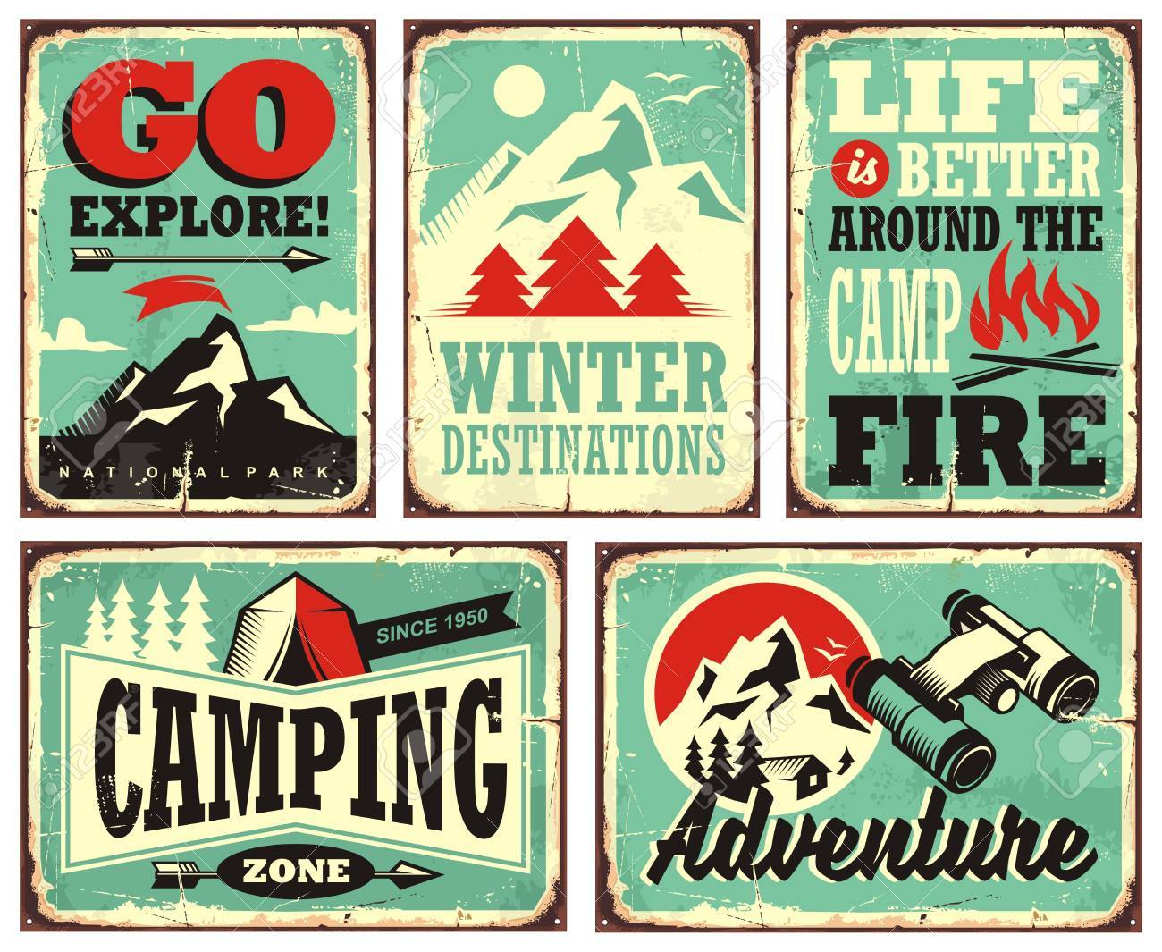 Retro Collection Of Winter Vacation Signs And Posters Stock Vector