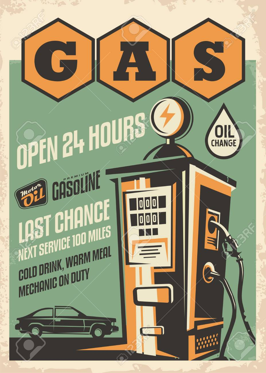 Gas station retro poster design  Vintage flyer with car graphic