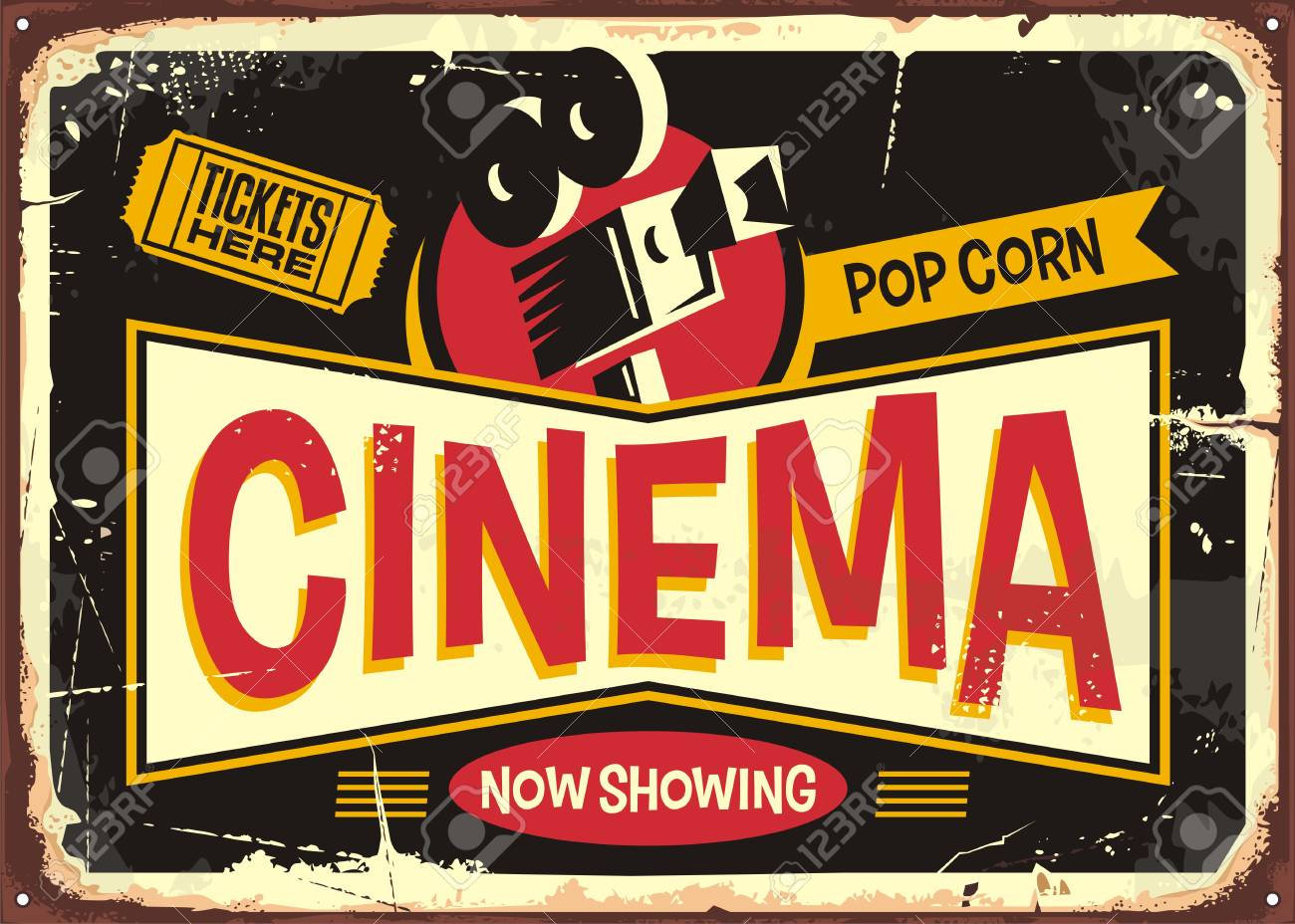 Cinema retro tin sign design template. Vintage entertainment poster layout with movie camera and cinema ticket on a black background. - 104990939