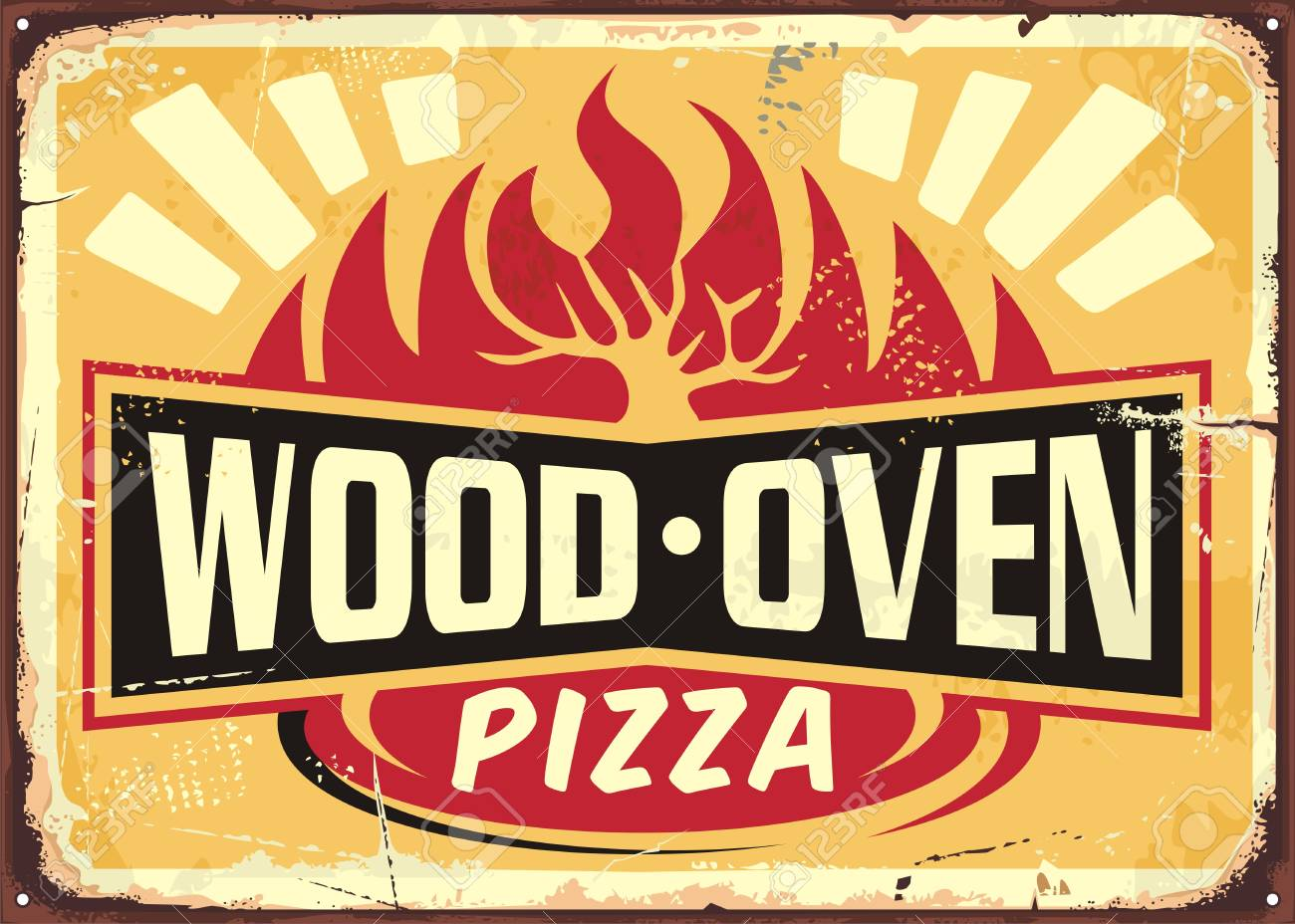 Wood oven fired pizza vintage metal sign design template on yellow background. Italian cuisine retro pizza poster. - 107160047