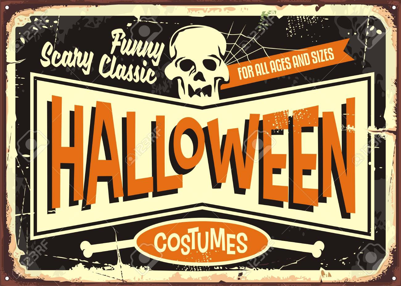 Halloween costumes retro shop sign board. Vintage Halloween poster..
