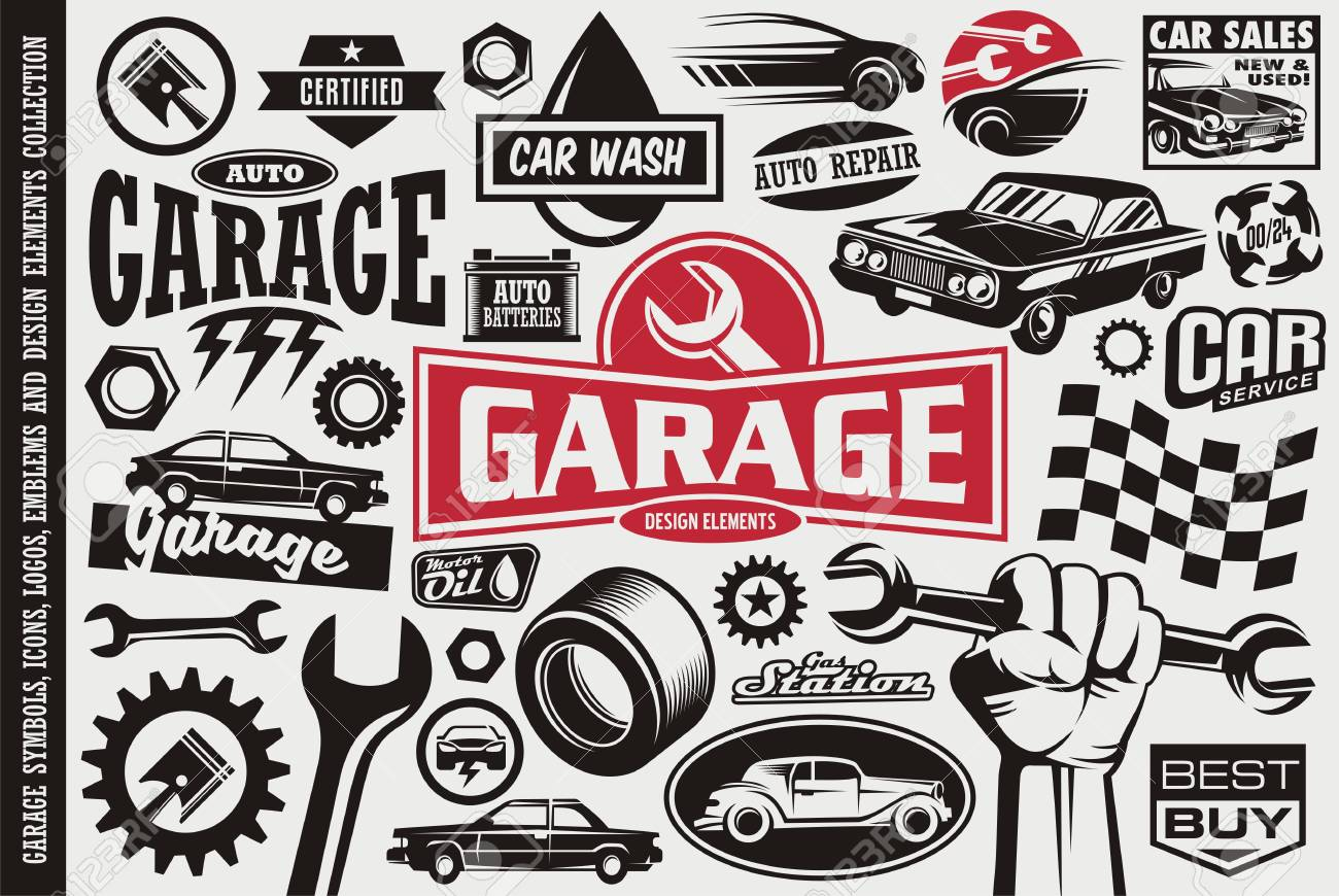 Car service and garage symbols, logos, emblems and icons collection. Auto transportation cars icons set. - 122714497