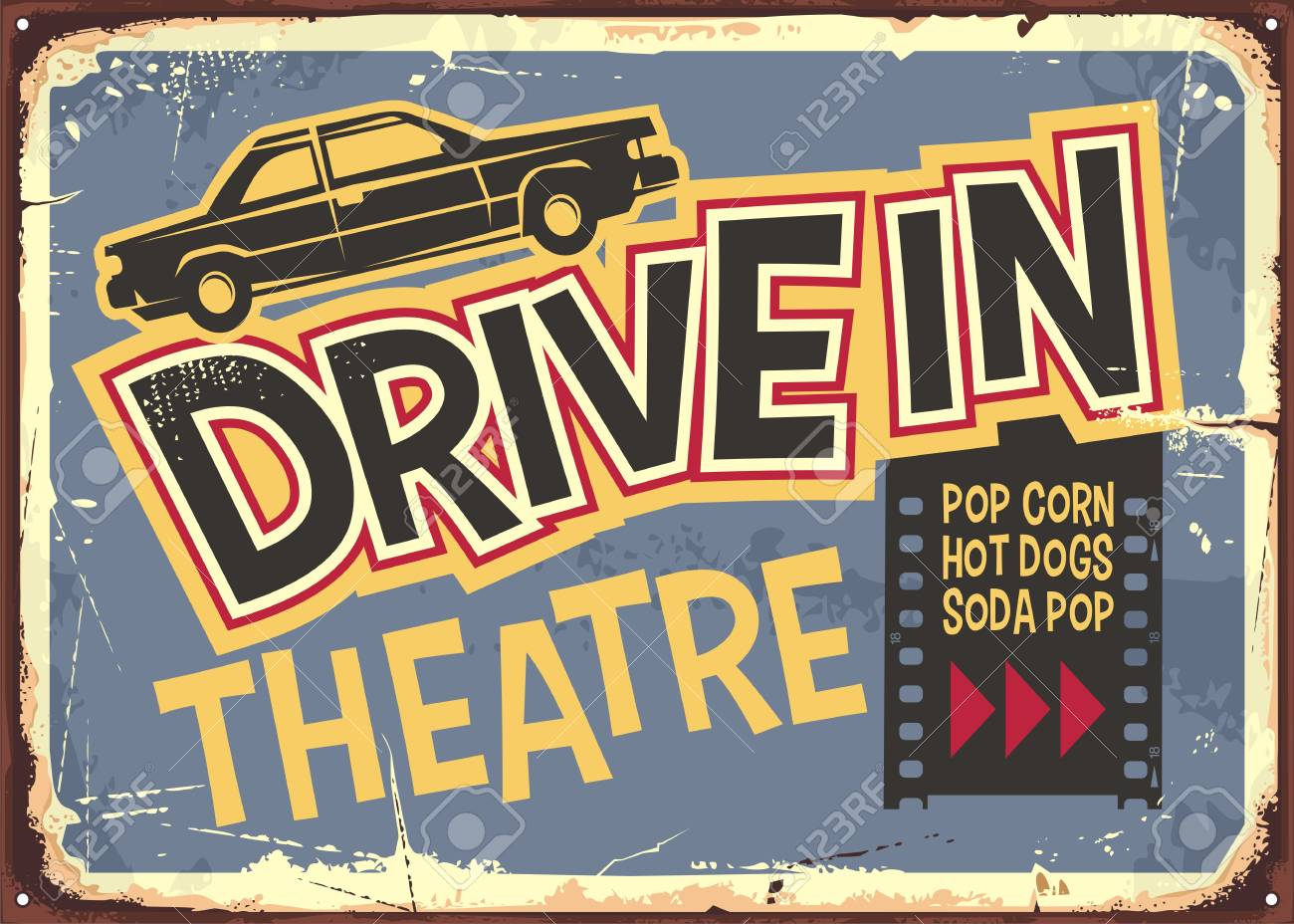 Drive In Theater Vintage Sign Design Open Air Cinema Retro Poster Royalty Free Cliparts Vectors And Stock Illustration Image 122714503
