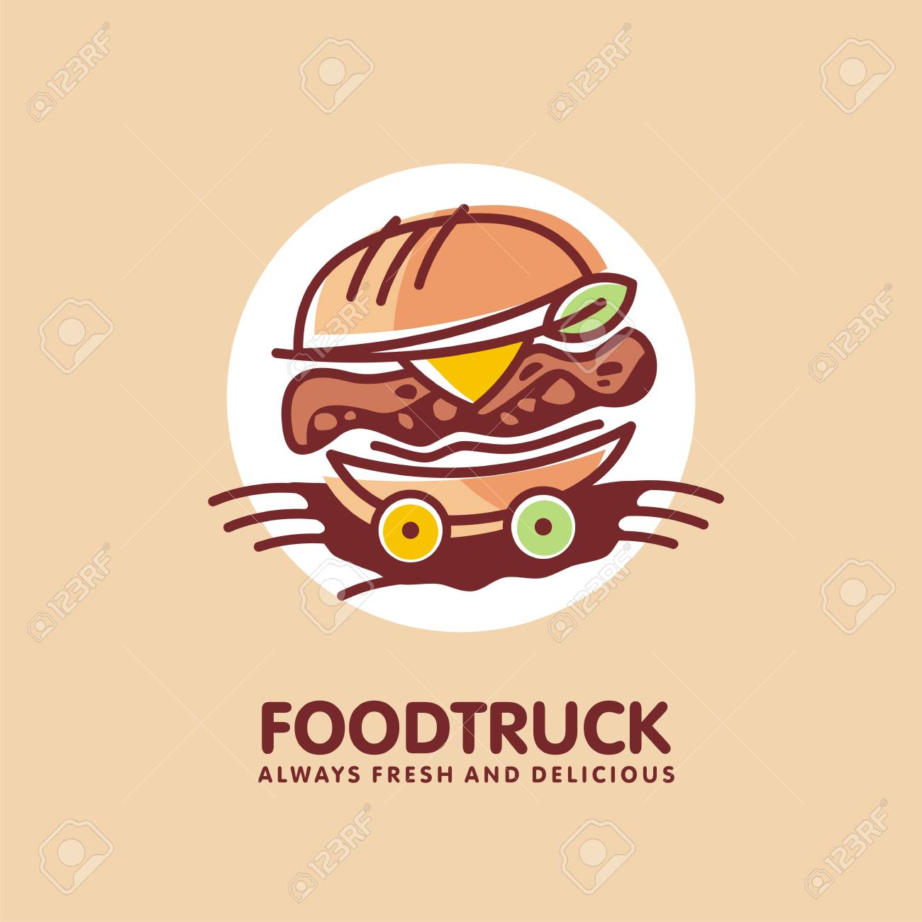 Food Truck Logo Design Idea With Juicy Burger On The Wheels Royalty Free Cliparts Vectors And Stock Illustration Image 122714524