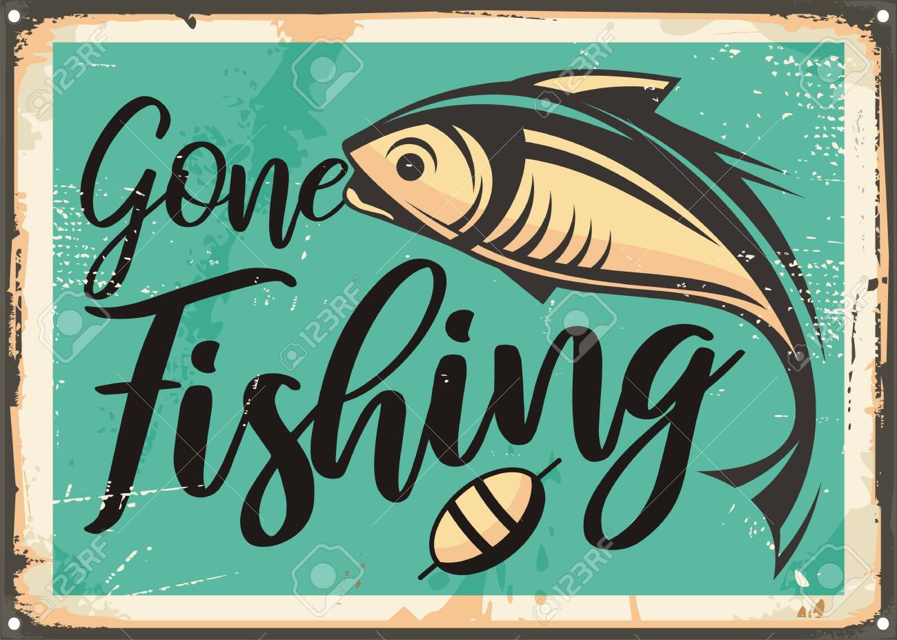 Gone fishing vintage decorative sign template. Retro poster with fish on old rusty metal background. Sports and recreation vintage vector layout. - 131910012