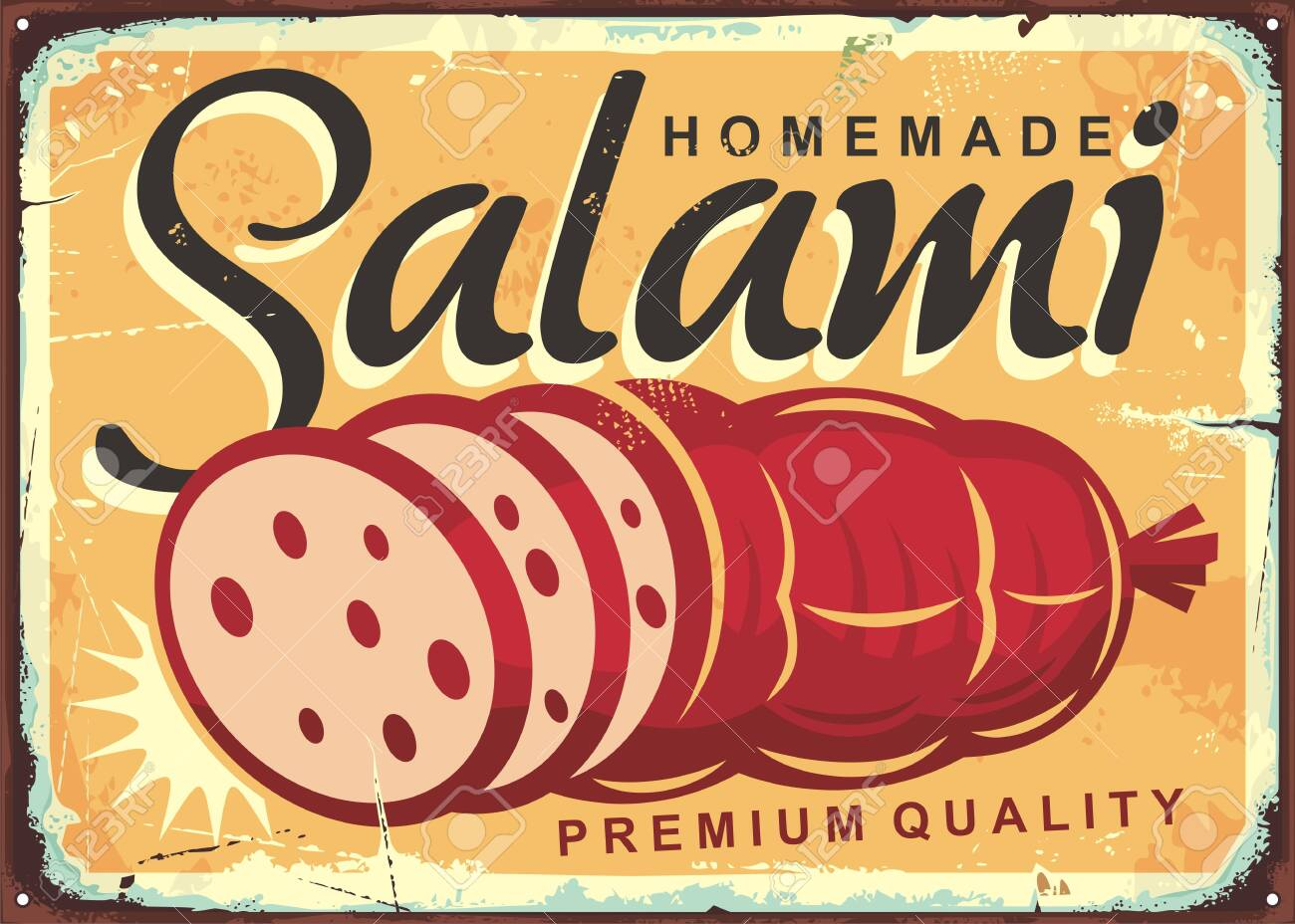Homemade salami retro poster design with fresh meat product. Vintage tin sign with delicious sausage on old yellow background. - 135172486