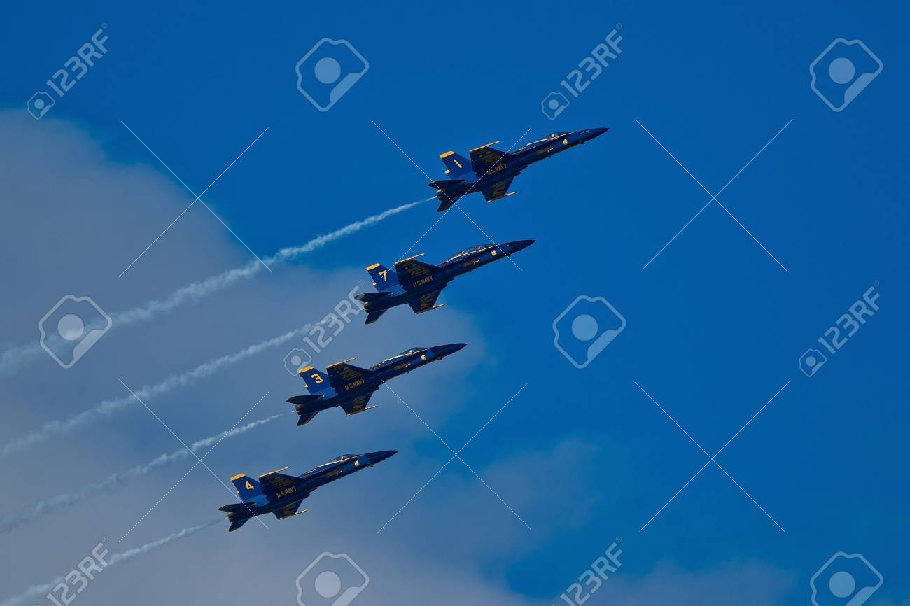 SAN FRANCISCO, CA - OCTOBER 6: US Navy Demonstration Squadron Blue Angels, flying on Boeing F/A-18 Hornet showing precision of flying and the highest level of pilot skills during Fleet Week on October 6, 2011 in San Francisco, CA.  Stock Photo - 11886678