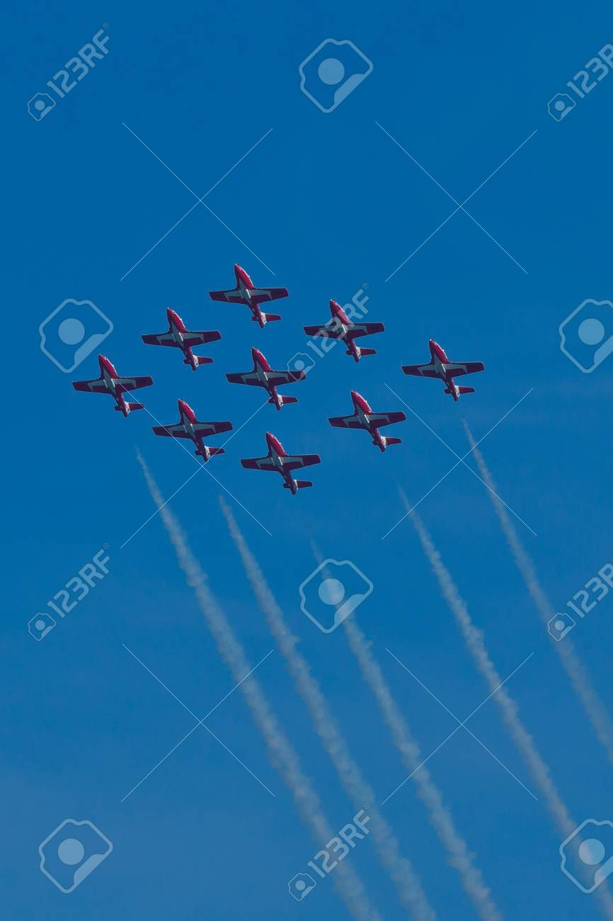 SAN FRANCISCO, CA - OCTOBER 9: The Snowbirds Demonstration Team (431 Squadron), demonstrate the skill, professionalism, and teamwork of Canadian Forces personnel during Fleet Week on October 9, 2011 in San Francisco, CA.  Stock Photo - 12469351