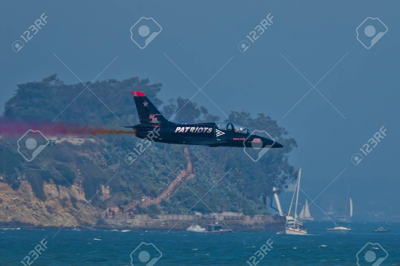 SAN FRANCISCO, CA - OCTOBER 8: Patriots Jet Team on L-39 Albatross aircrafts showing precision of flying, the highest level of pilot skills during Fleet Week on October 8, 2011 in San Francisco, CA.  Stock Photo - 12778424