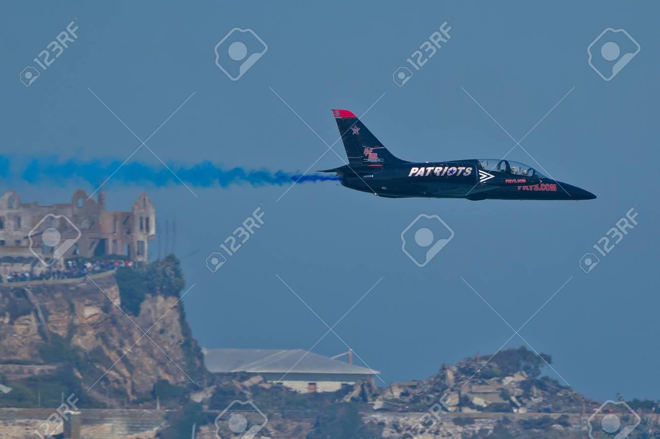 SAN FRANCISCO, CA - OCTOBER 8: Patriots Jet Team on L-39 Albatross aircrafts showing precision of flying, the highest level of pilot skills during Fleet Week on October 8, 2011 in San Francisco, CA.  Stock Photo - 12778433