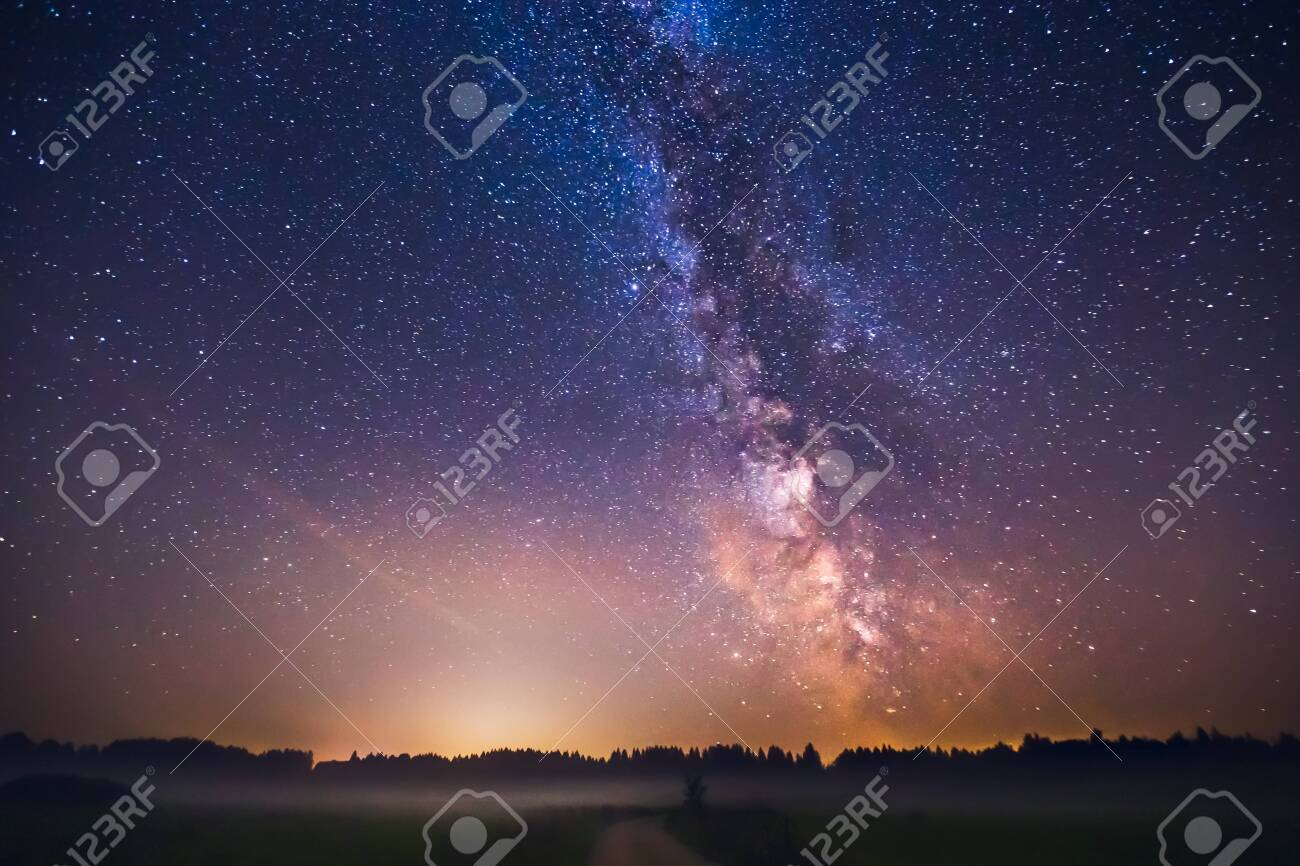 Landscape with Milky way galaxy in Lithuania - 131301711