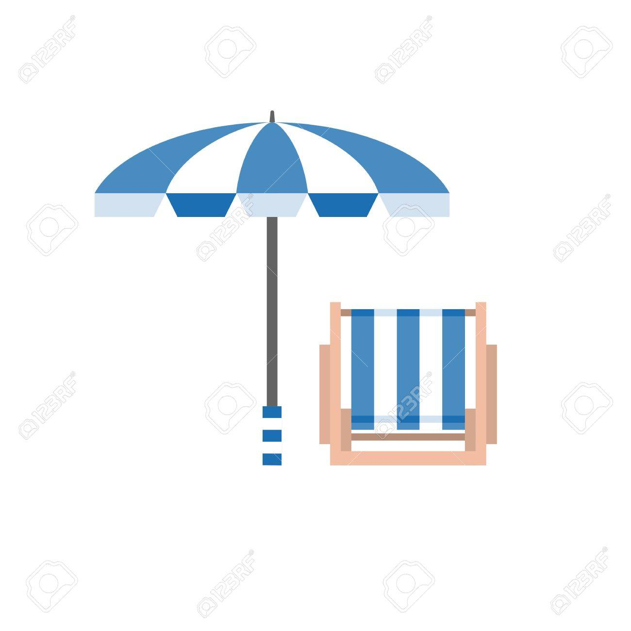 Beach umbrella and chair - Umbrella And Chair Vector Illustration Beach Bed And Beach Umbrella Icon Holiday Symbol