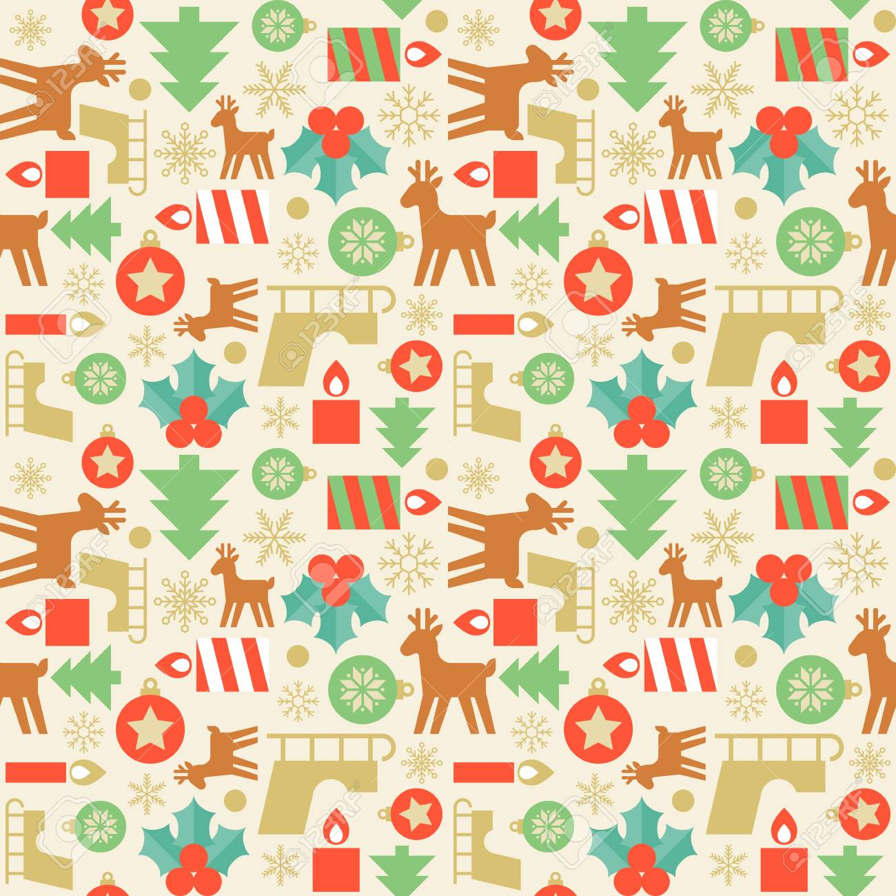 Seamless Pattern Wallpaper Of Christmas Tree Candle Reindeer Sleigh Snowflake