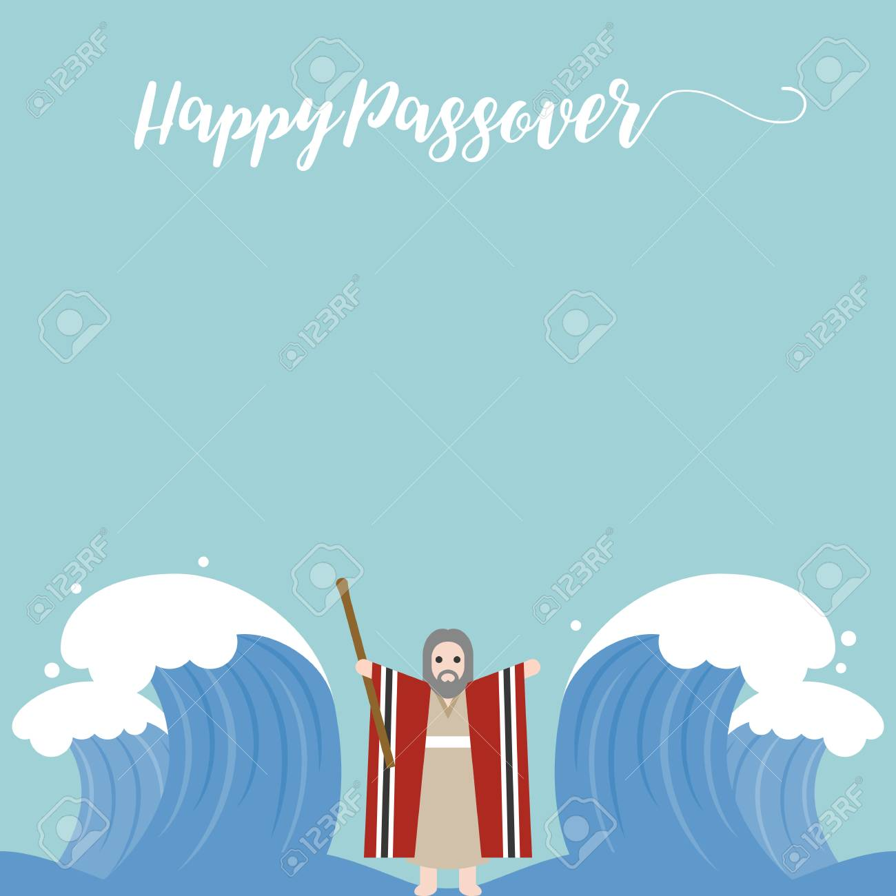 happy passover with seder plate, wine, matzah on brown background, flat design vector - 74306243