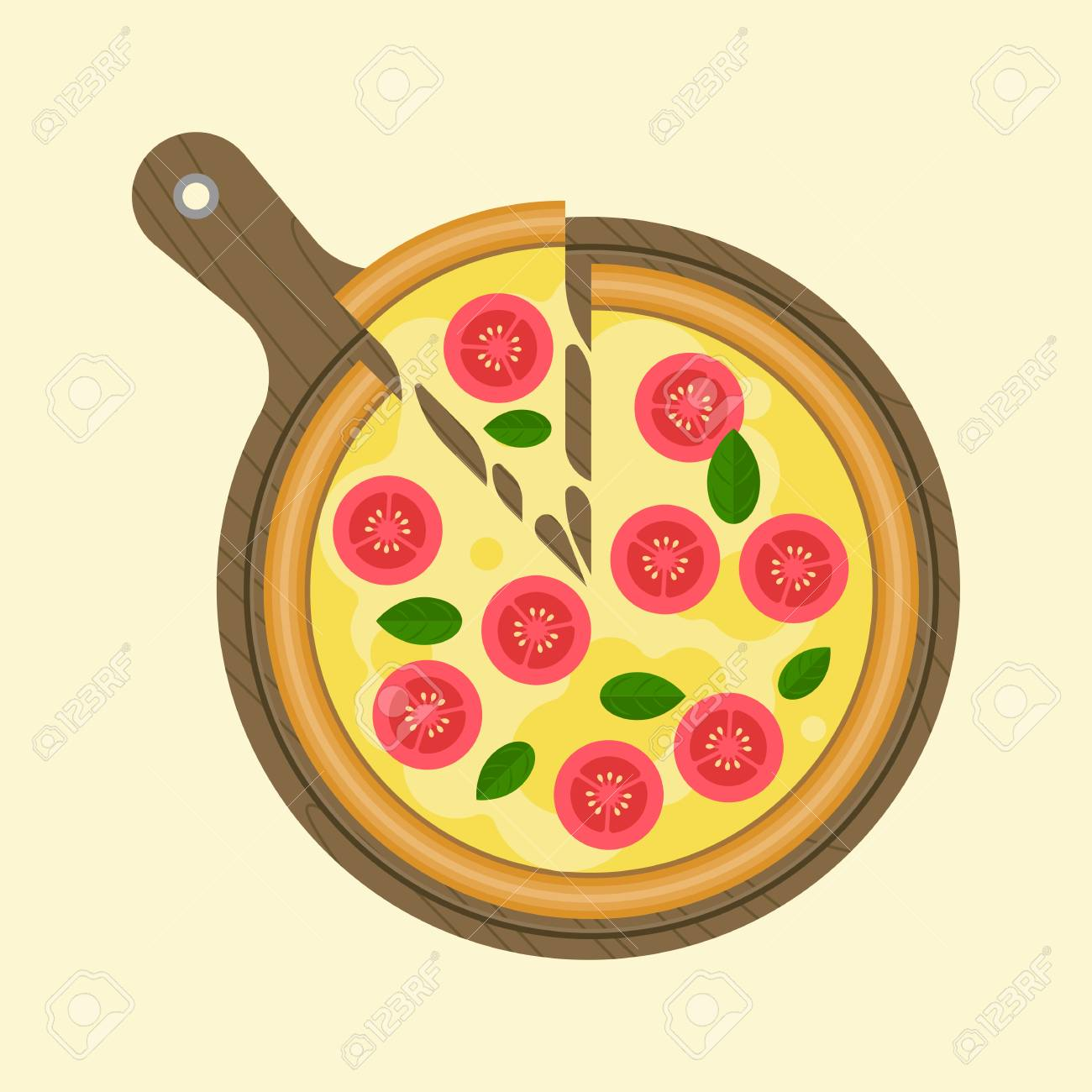 Margarita Pizza And Slice Of Piece On Wooden Tray Plate Flat Design Vector Stock