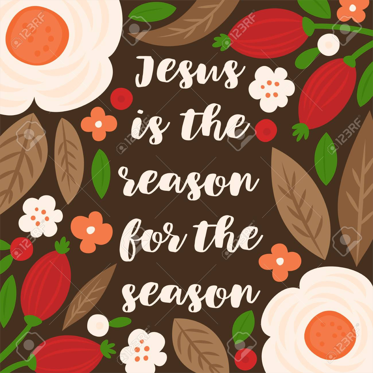 jesus is the reason for the season christmas hand lettering quote with floral and leaves