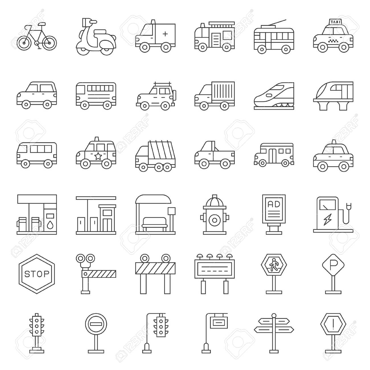 Transportation set with sign on road side, outline icon - 111393433