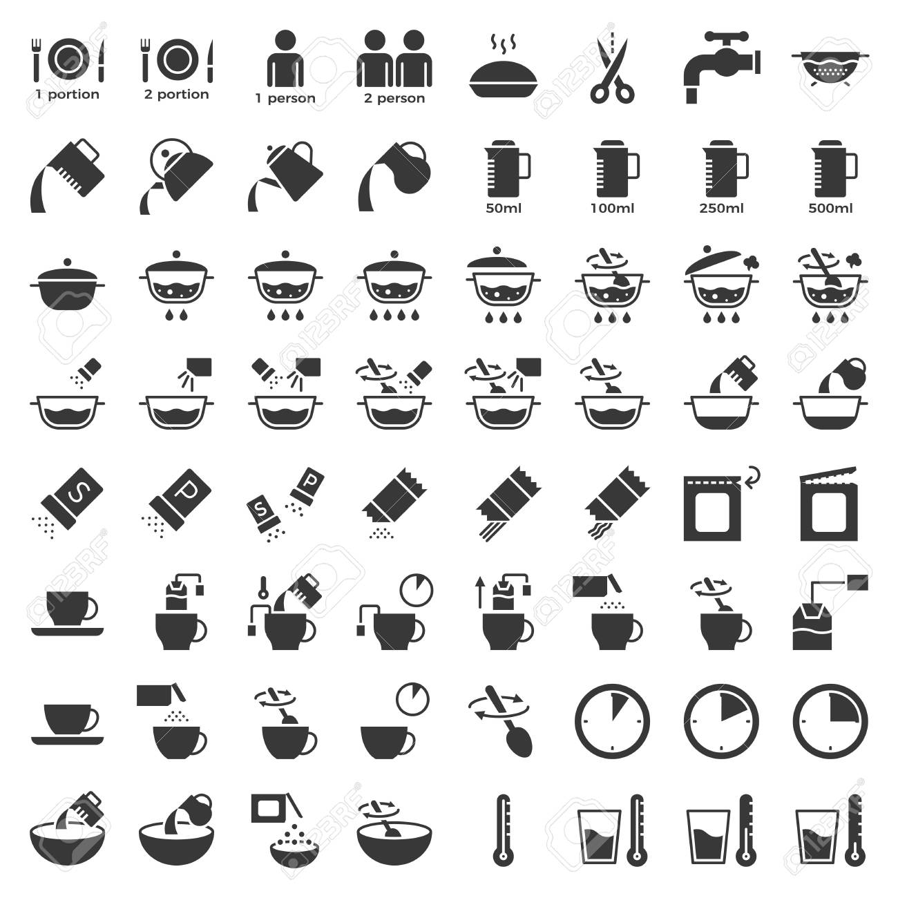 cooking instruction solid icon, material for use in package and container - 109644619
