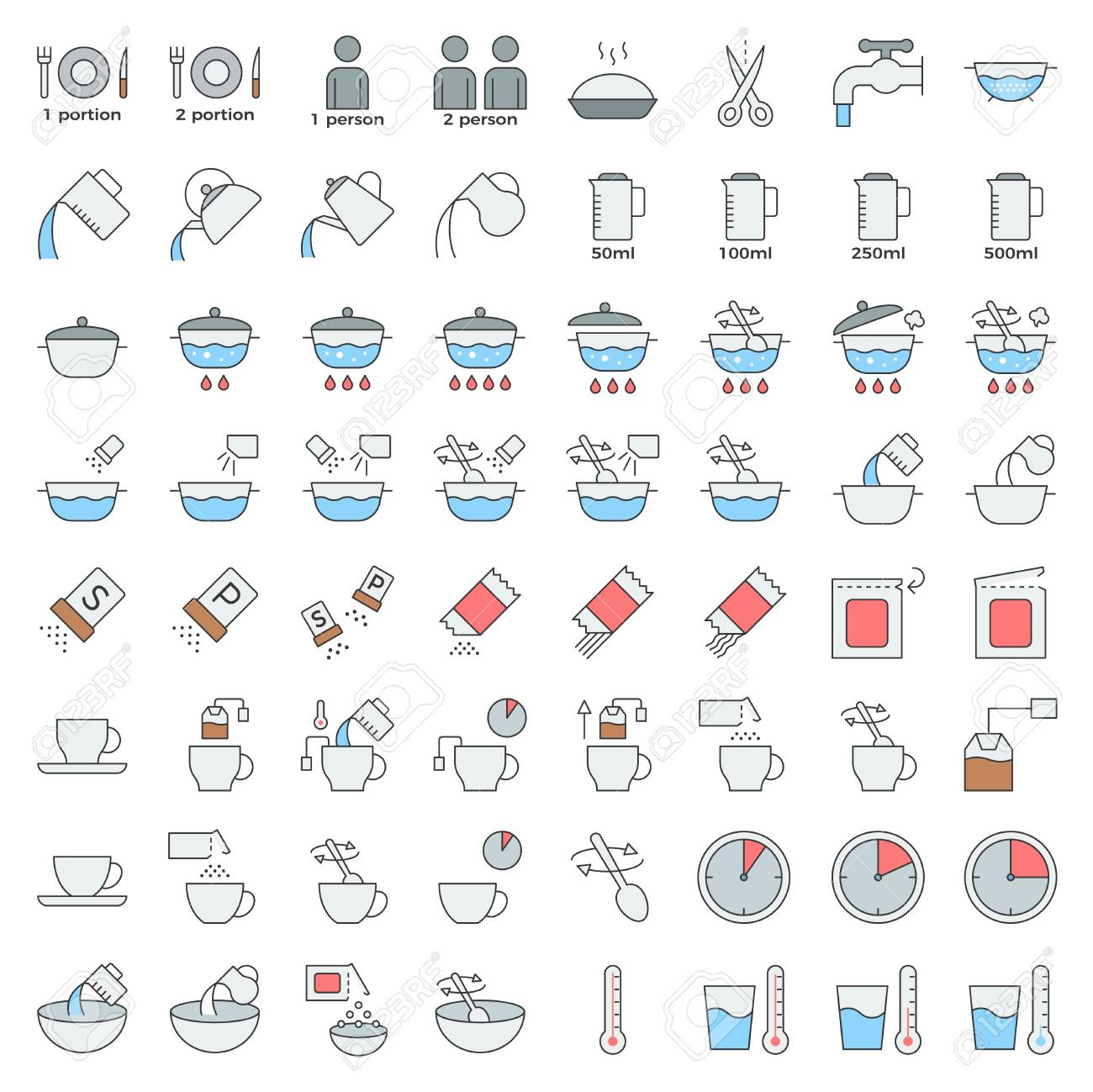 cooking instruction outline icon editable stroke, material for use in package and container - 109644630