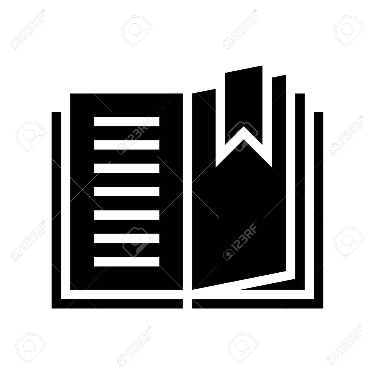 Open book with bookmark vector, solid design icon - 137261392