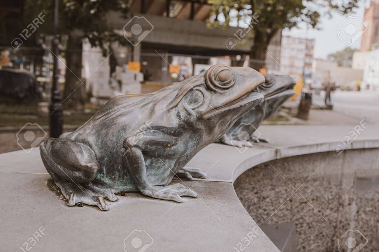 Beautiful Metal Frog From The Fountain In The City Of Lębork Stock Photo Picture And Royalty Free Image Image 150595946