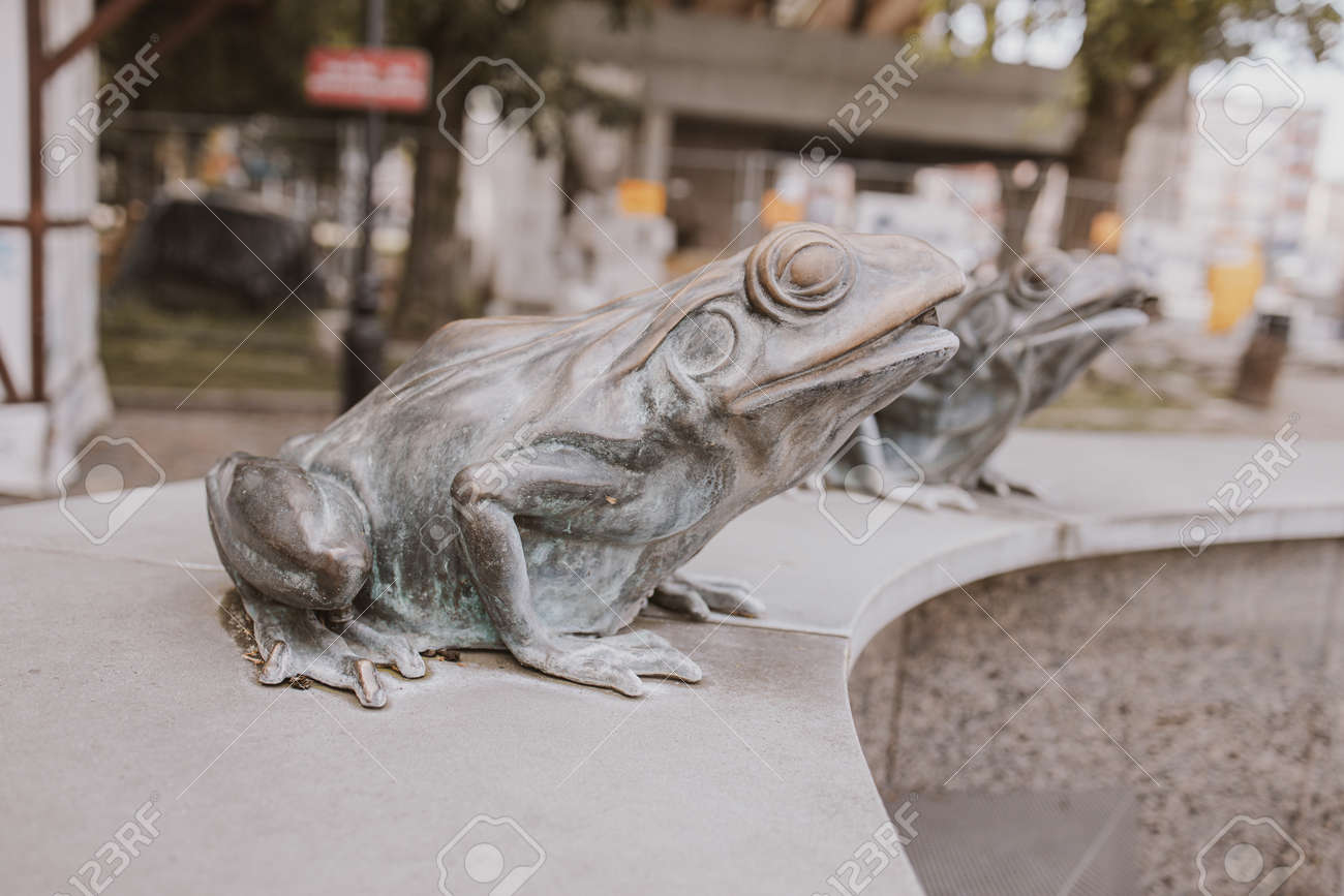 Beautiful Metal Frog From The Fountain In The City Of Lębork Stock Photo Picture And Royalty Free Image Image 150596272