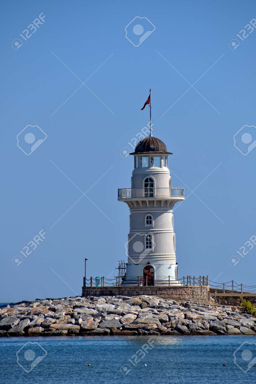 beautiful landscape of the port in the Turkish city of Alanya with the white tower on a warm summer day - 165811185