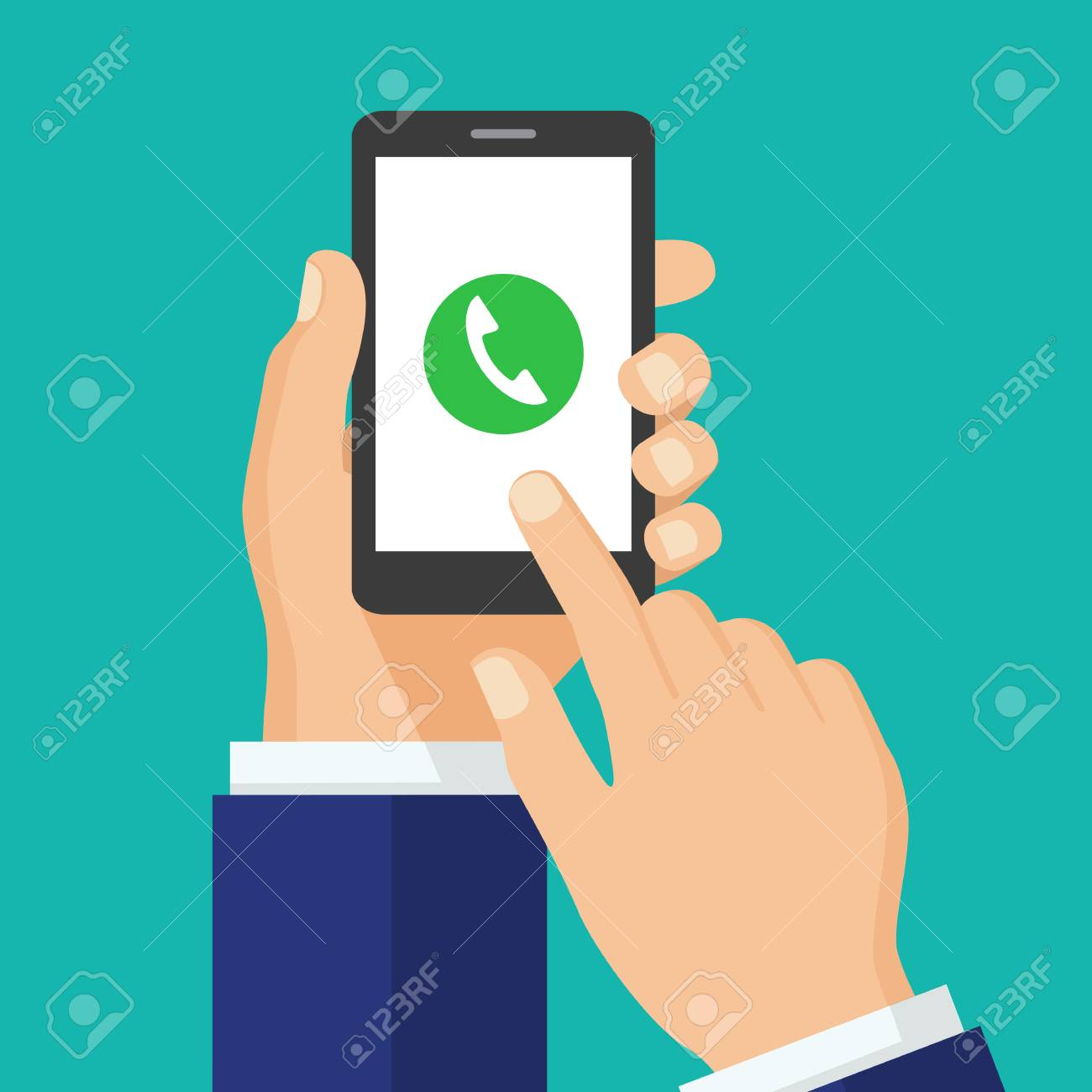 Phone call button on smartphone screen  Mobile phone call consept