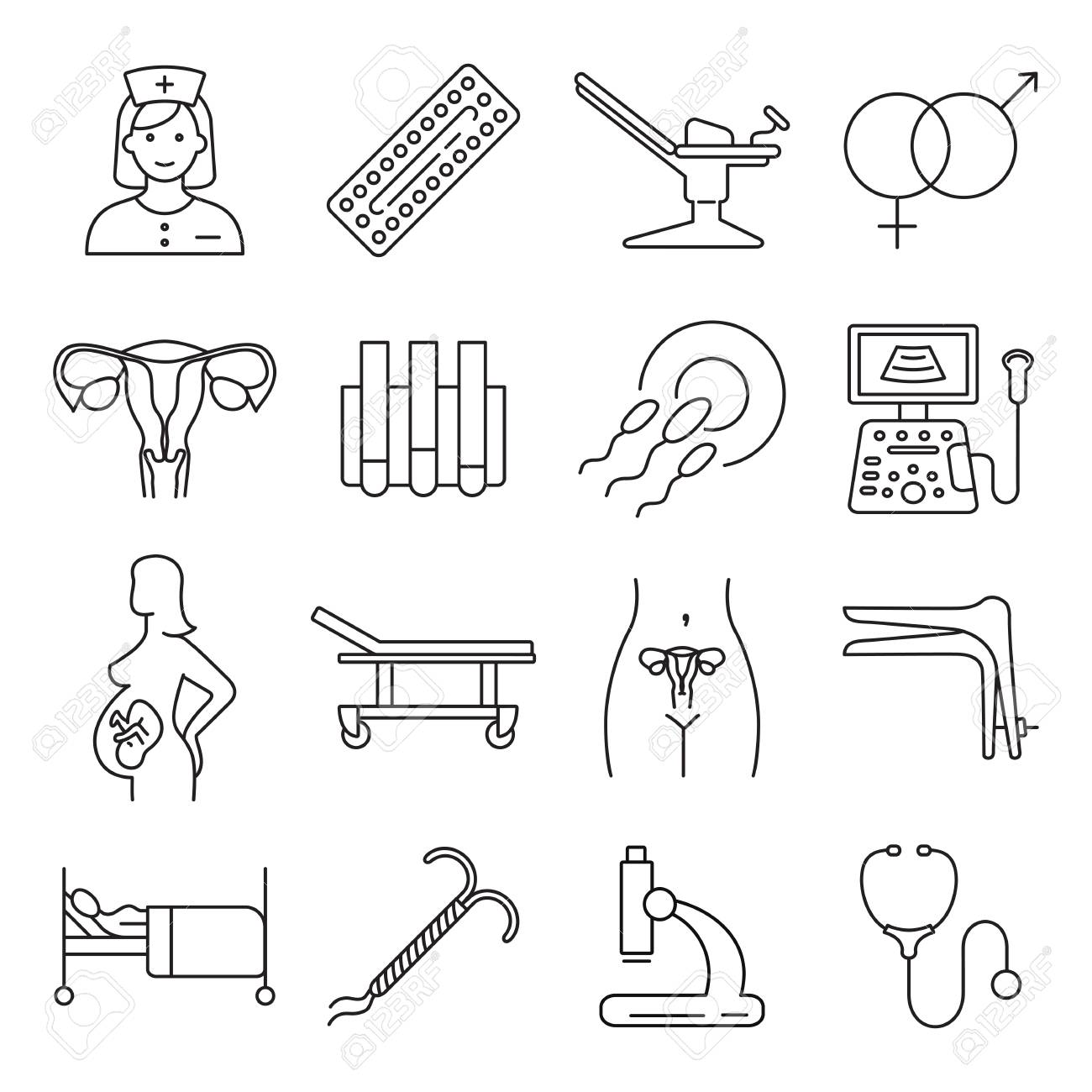 Vector gynecology symbols icon set. - 79793826