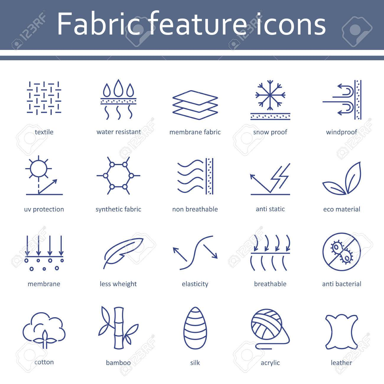 Fabric and clothes feature line icons. - 83802869