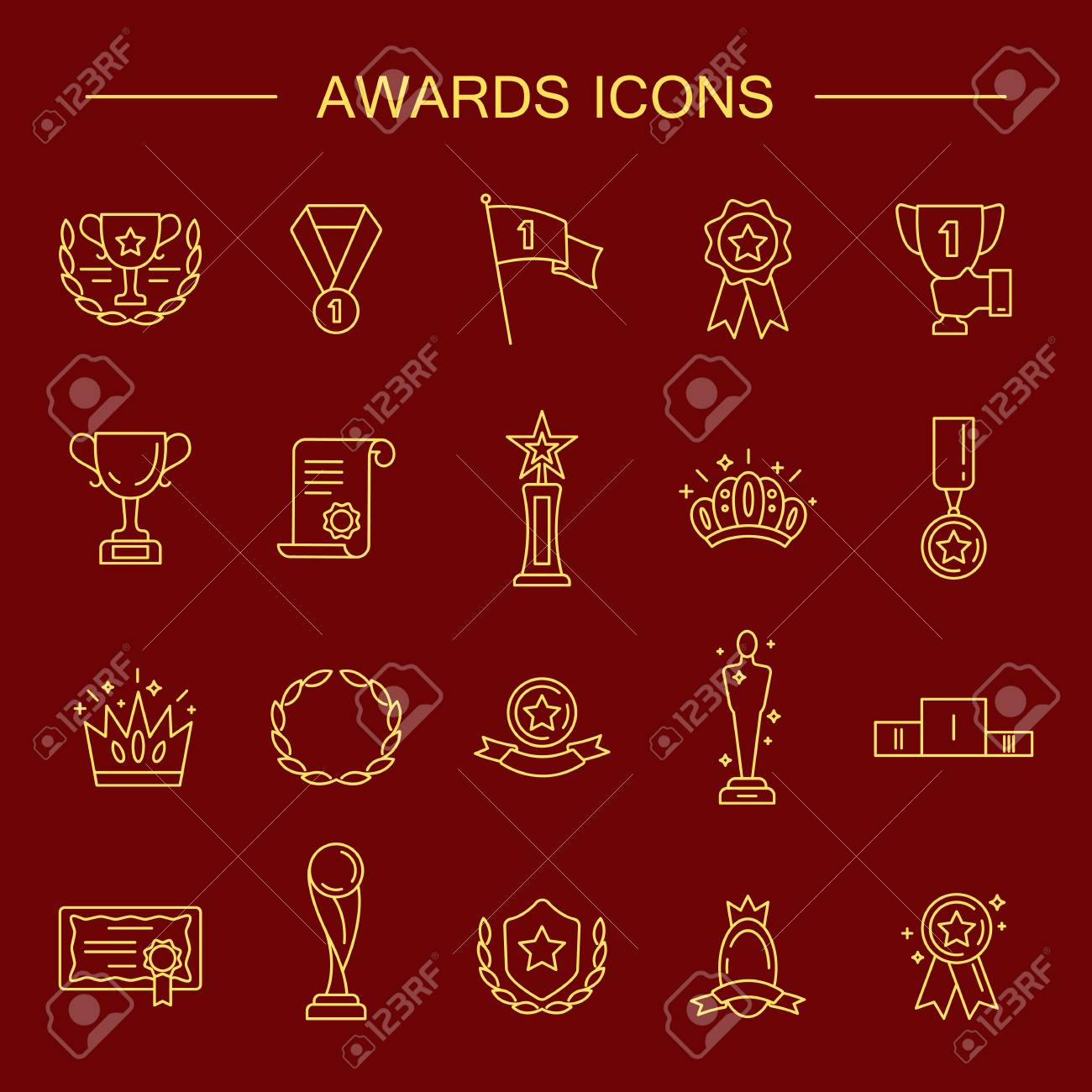 Award Icon Set High Quality Outline Symbol Collection Of