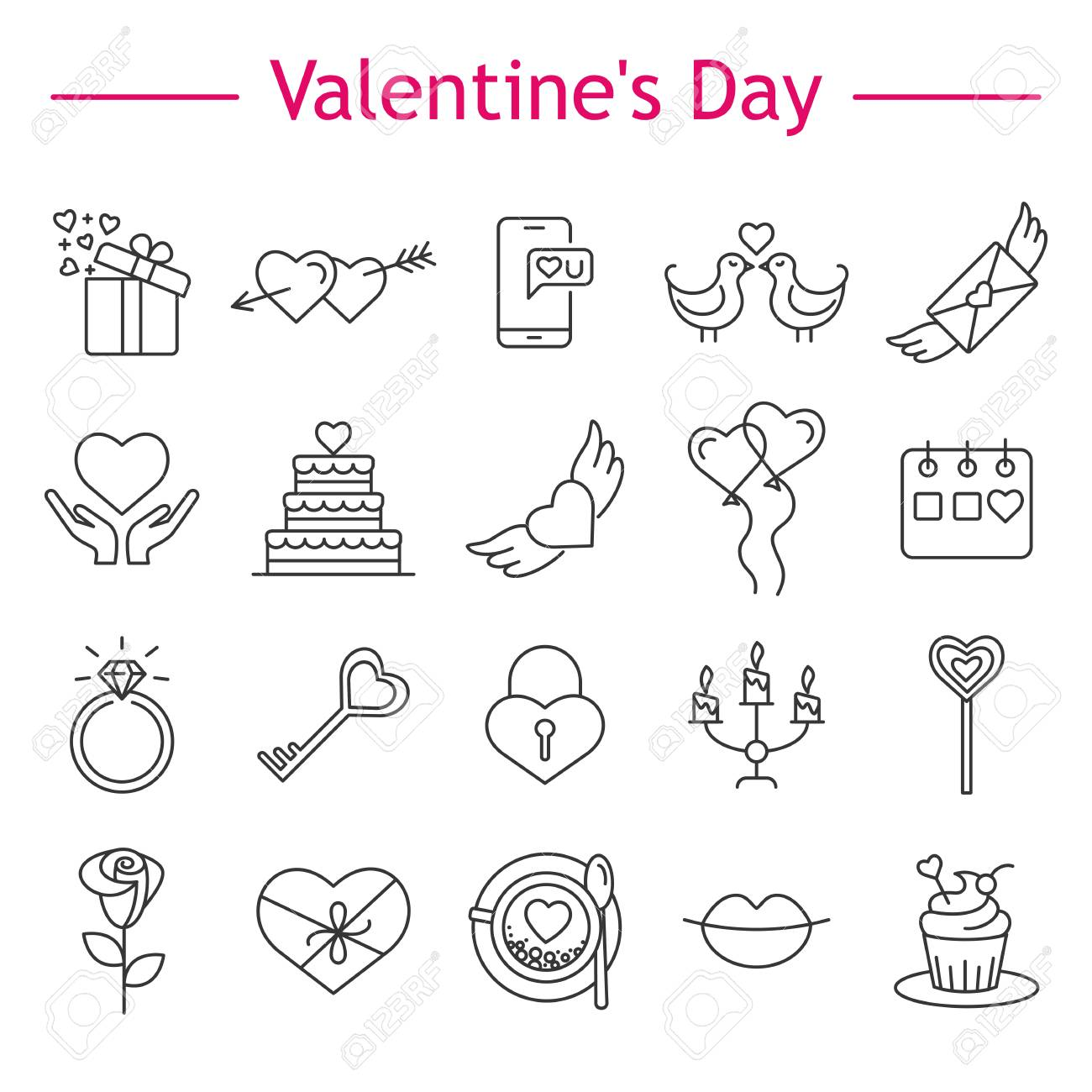 birthday love letters valentines day line icons set present balloons gift cupcake