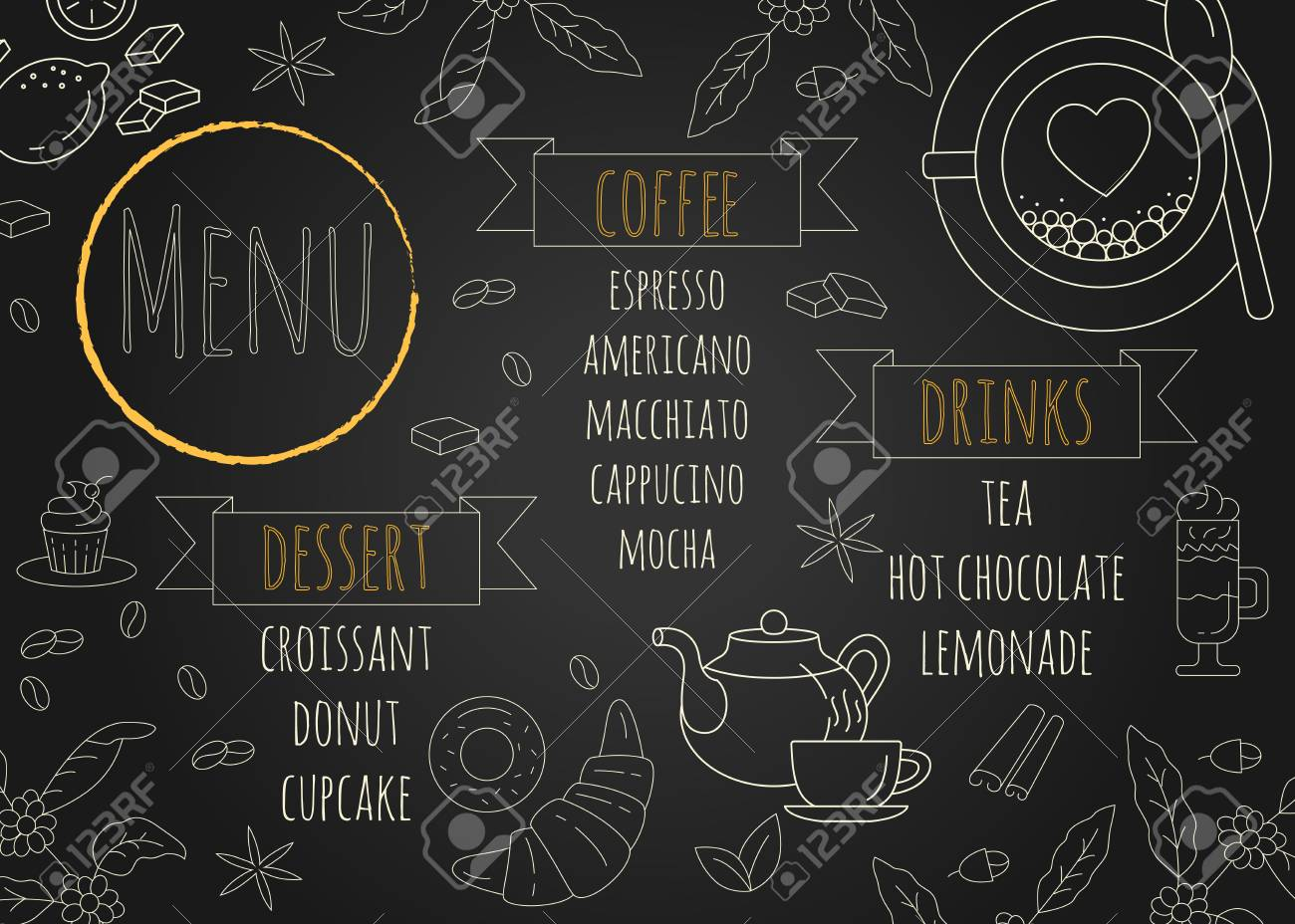 restaurant coffee menu design with chalkboard background royalty
