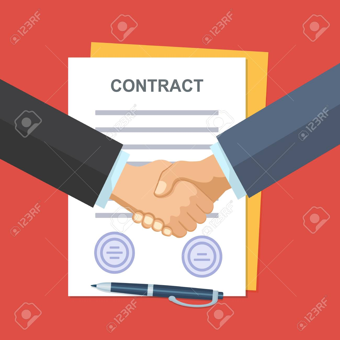 Handshake of business people on the background of the contract. - 110660718